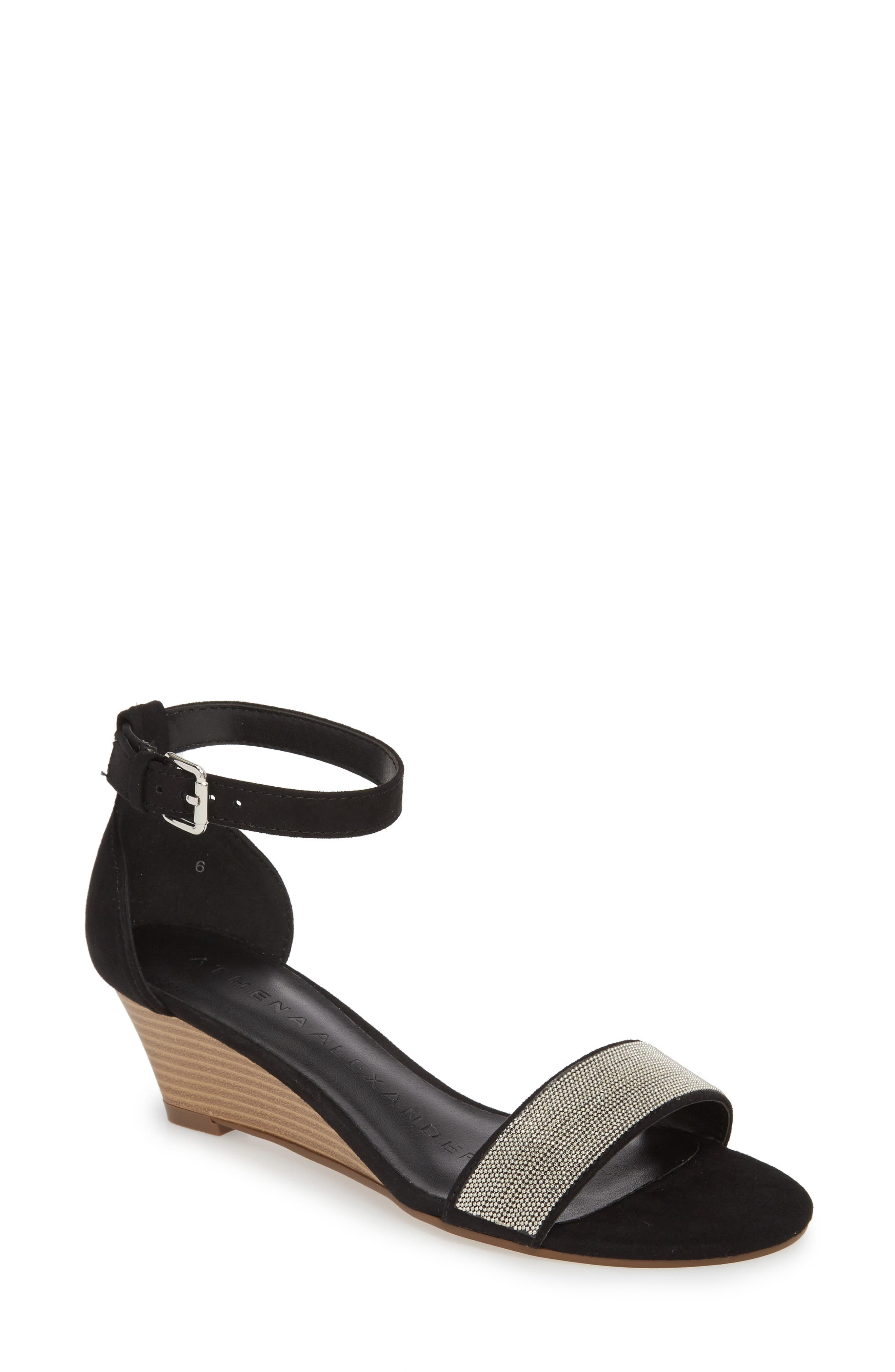 Enfield Ankle Strap Wedge Sandal,                             Main thumbnail 1, color,                             003
