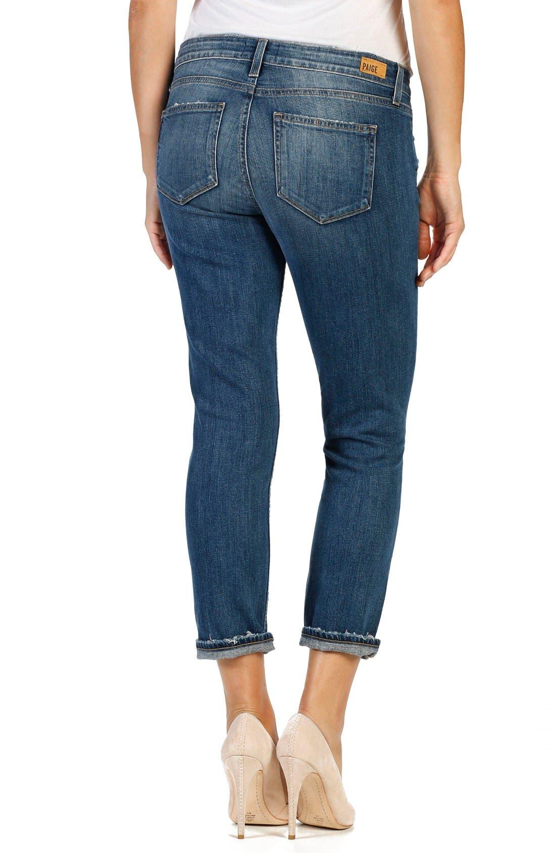 Anabelle Crop Slim Boyfriend Jeans,                             Alternate thumbnail 4, color,                             400