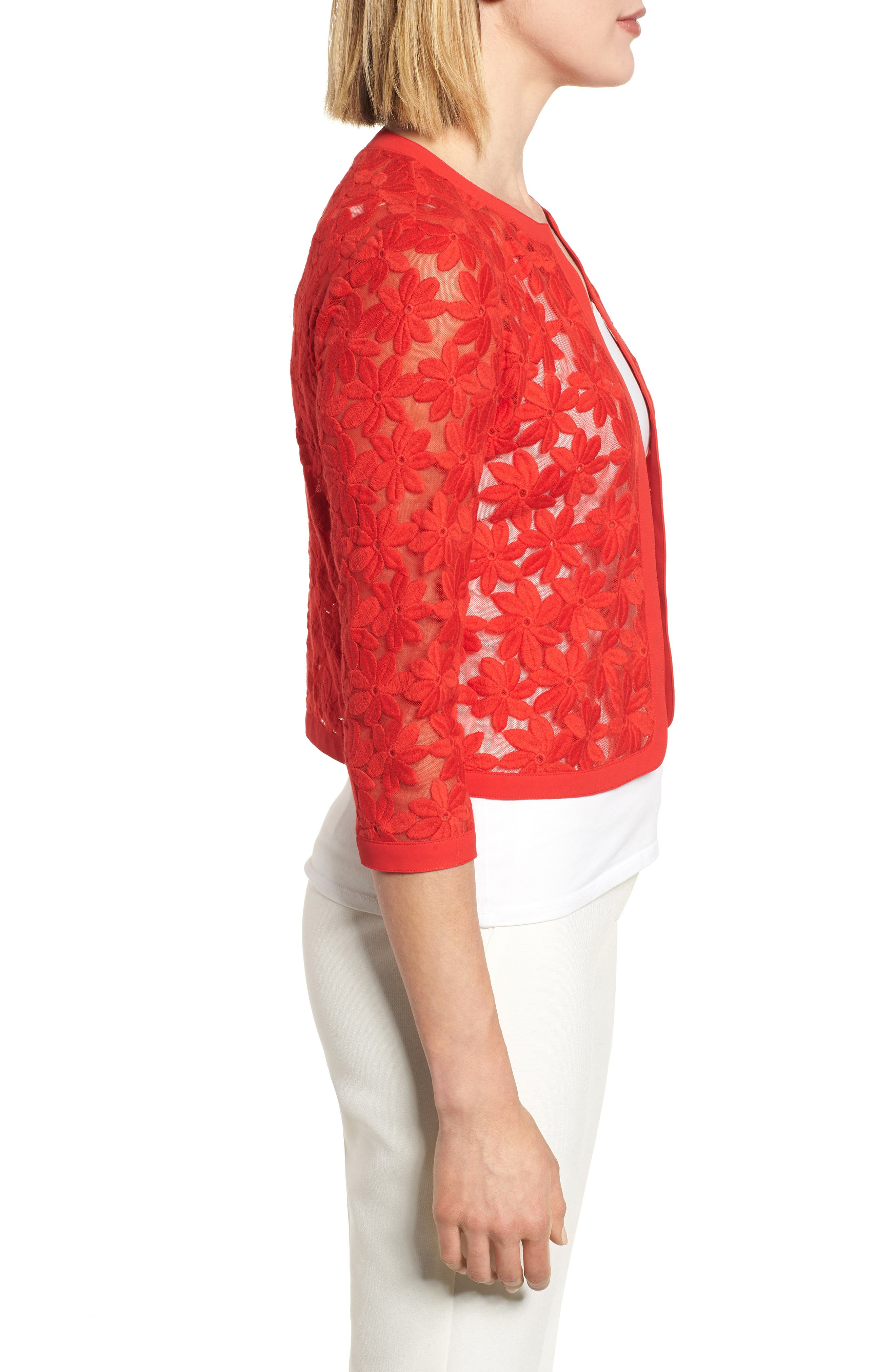 Floral Embroidered Mesh Cardigan,                             Alternate thumbnail 3, color,                             620