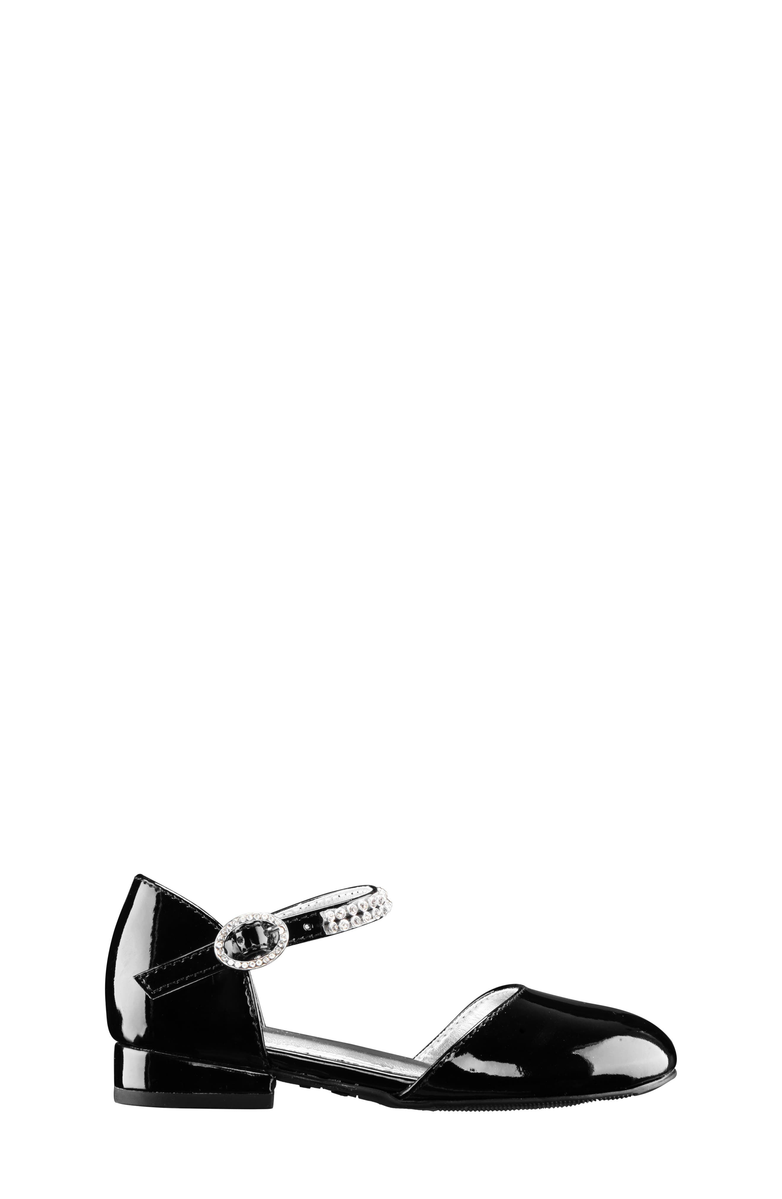 Cera Crystal Embellished d'Orsay Sandal,                             Alternate thumbnail 3, color,                             BLACK PATENT