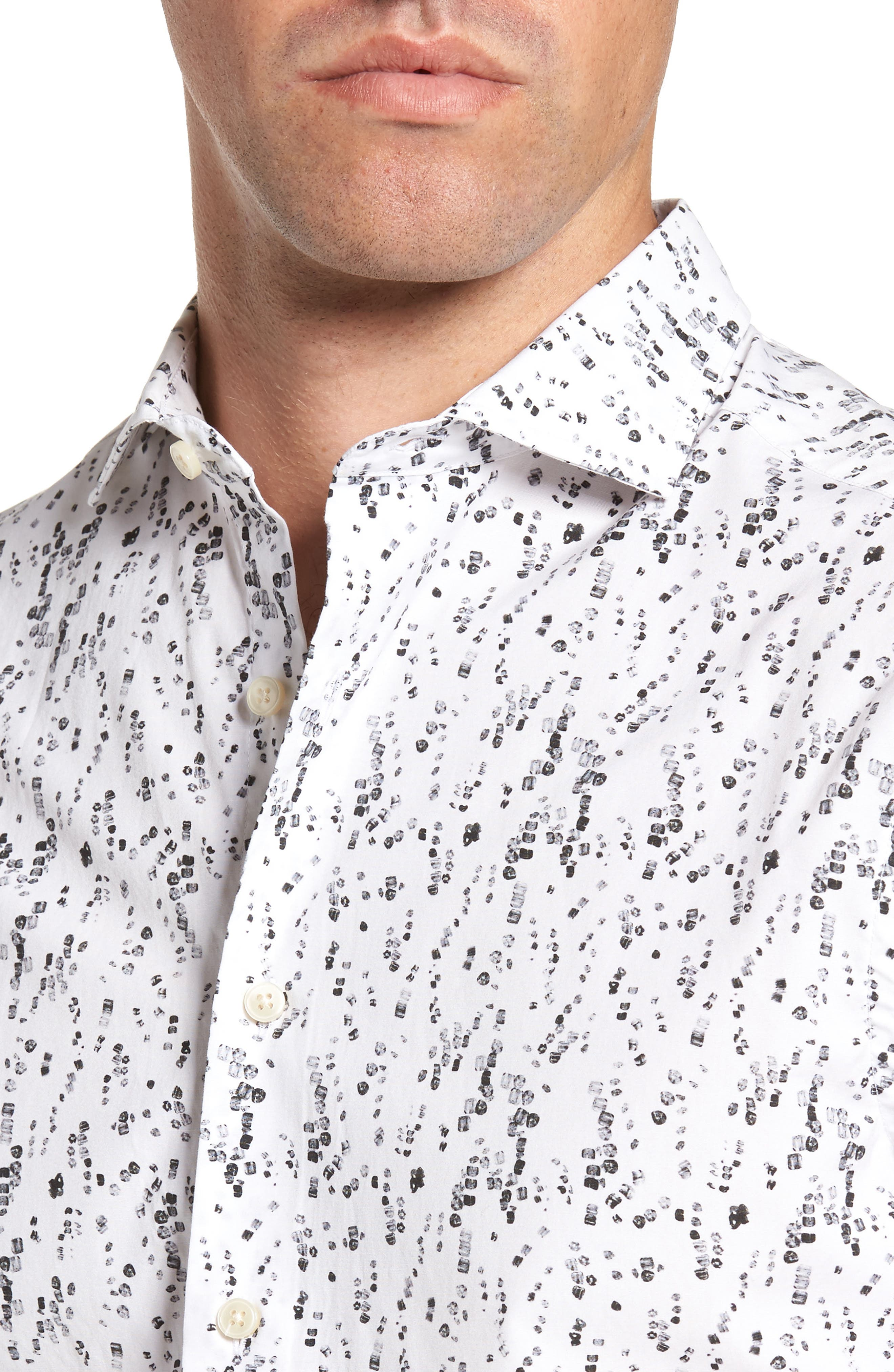 Slim Fit Crushed Ice Print Sport Shirt,                             Alternate thumbnail 4, color,                             005