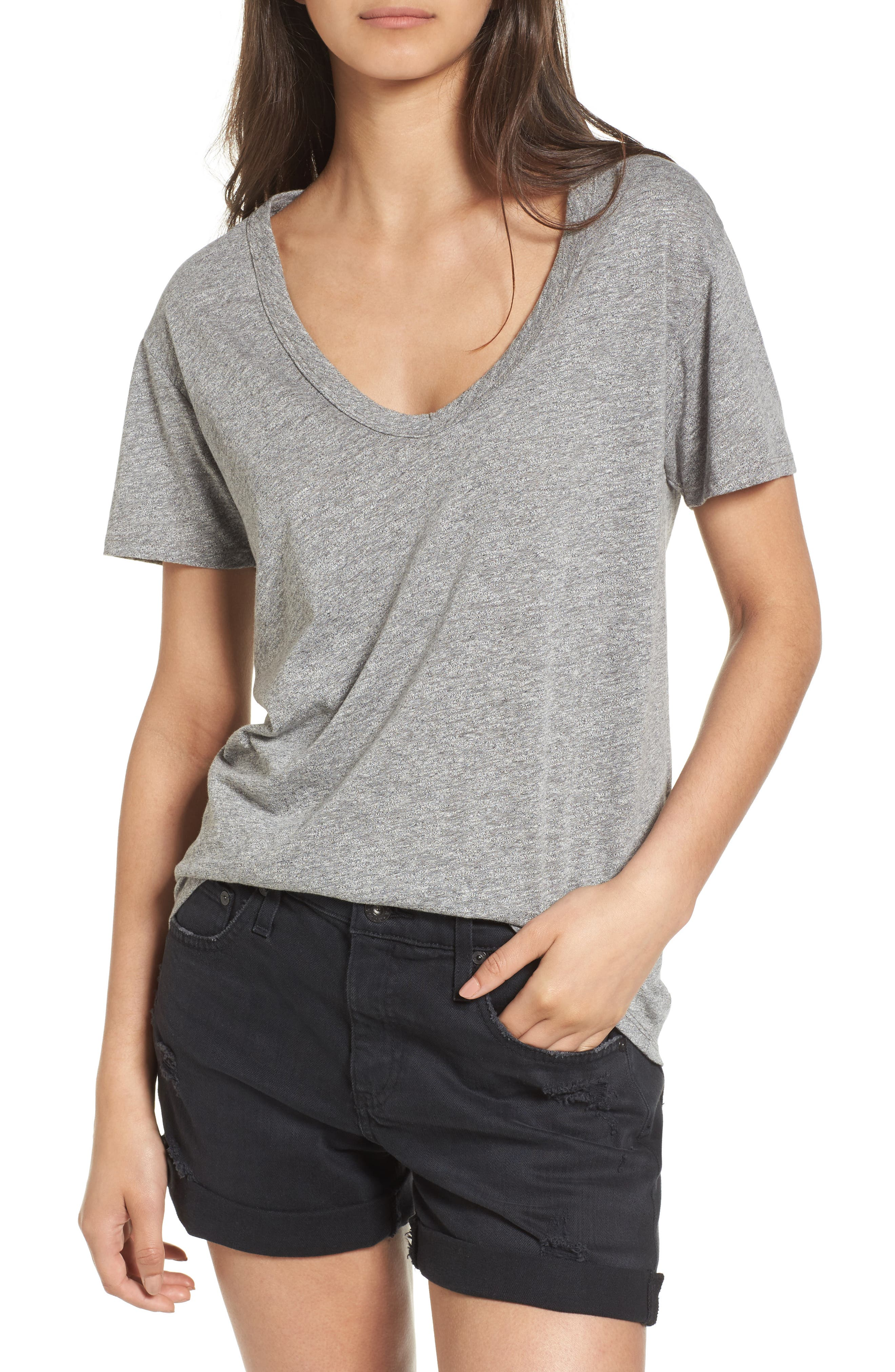 Henson Tee,                         Main,                         color, SPECKLED HEATHER GREY