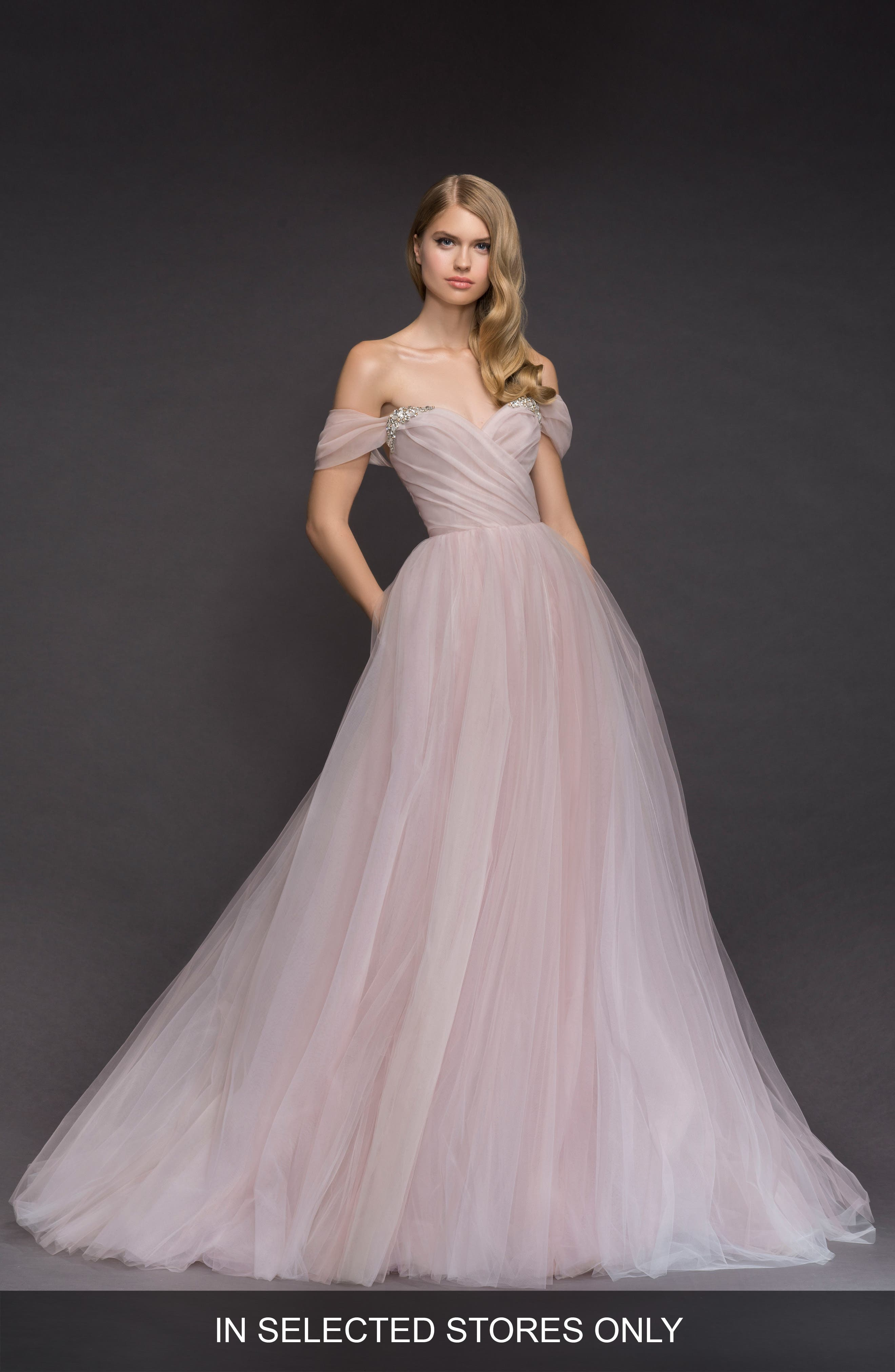 Blush By Hayley Paige Milo Off The Shoulder Tulle Ballgown, Size - Pink