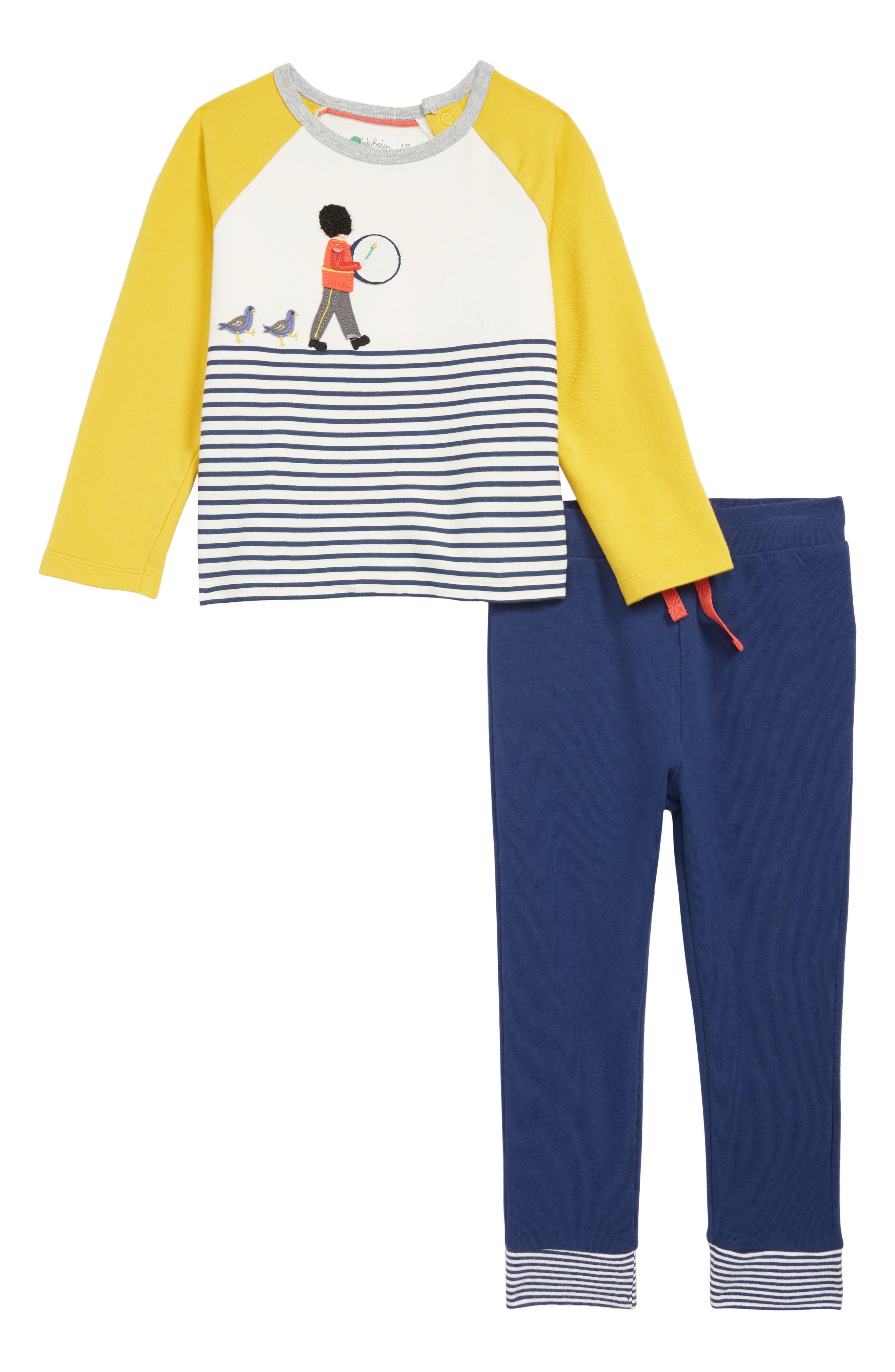 Fun Jersey Appliqué T-Shirt & Pants Set,                             Main thumbnail 1, color,                             MBL ECRU/ COLLEGE BLUE SOLDIER