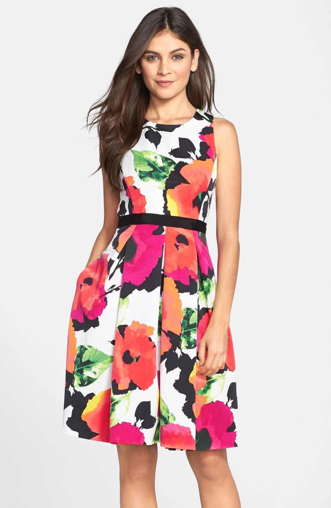 Floral Print Faille Fit & Flare Dress, Main, color, 950