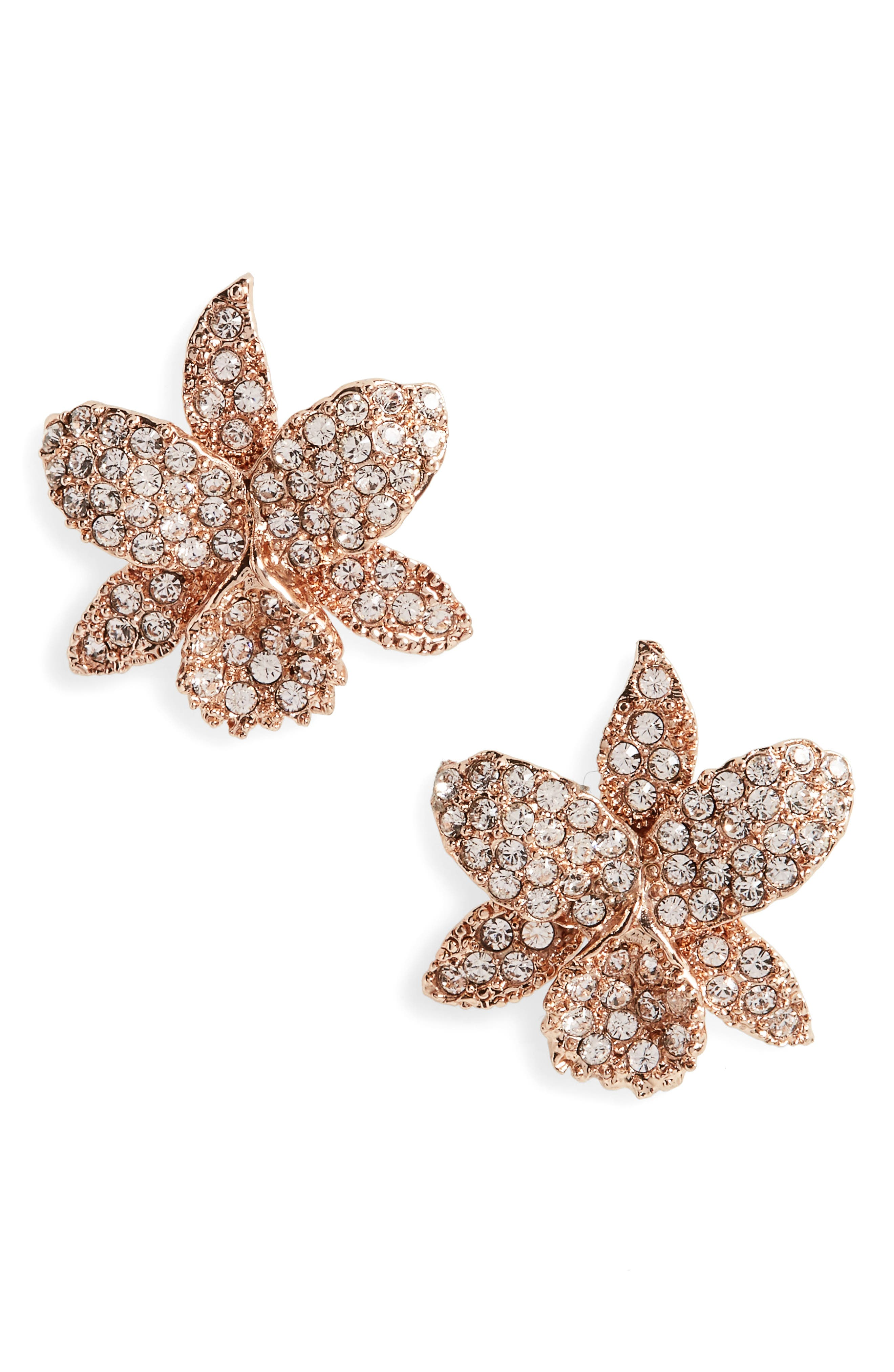 Nina Jewelry SMALL ORCHID SWAROVSKI CRYSTAL STUD EARRINGS
