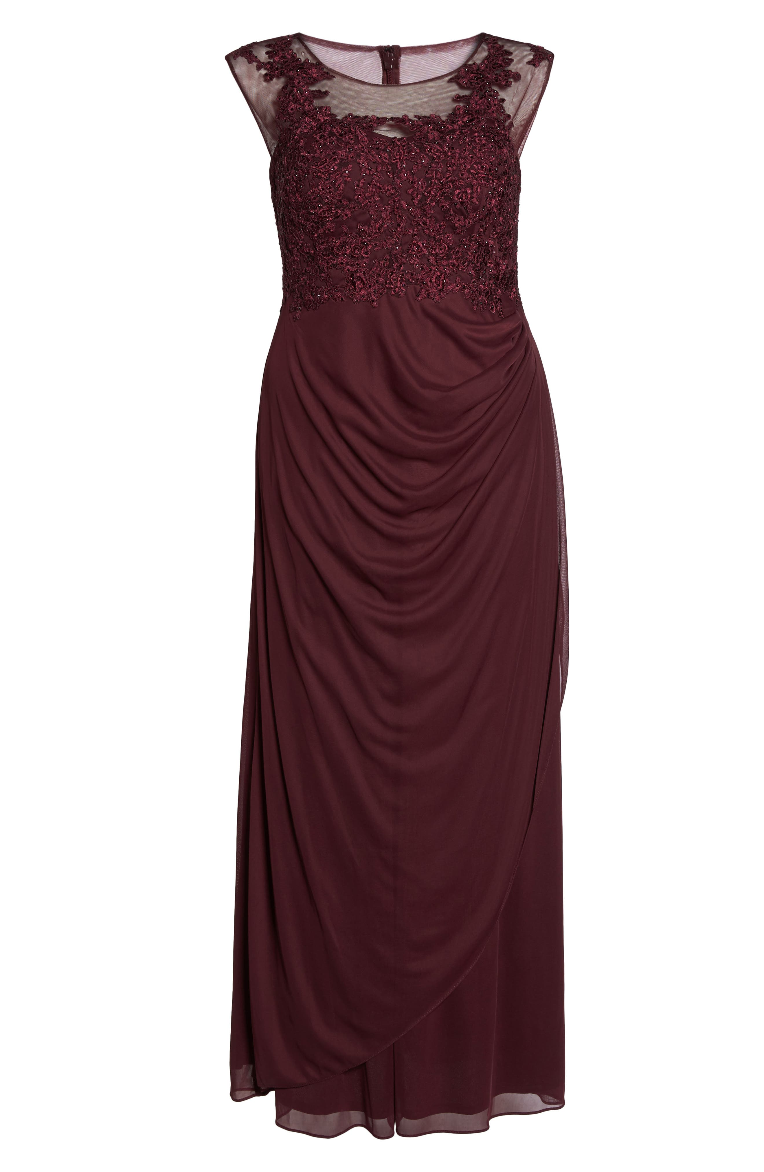 Embellished Ruched Jersey Gown,                             Alternate thumbnail 6, color,                             935