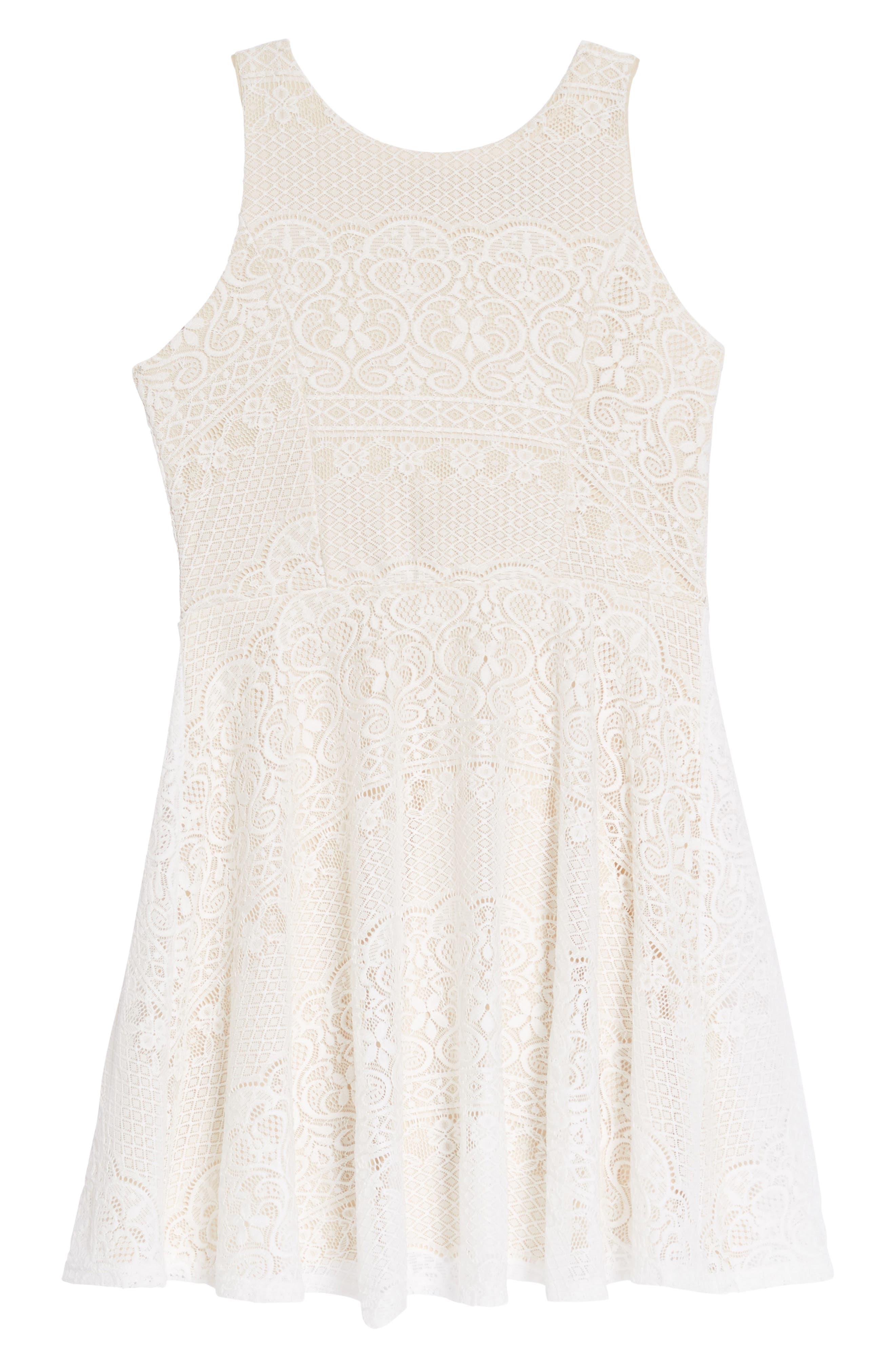 Rochelle Lace Skater Dress,                         Main,                         color, 100
