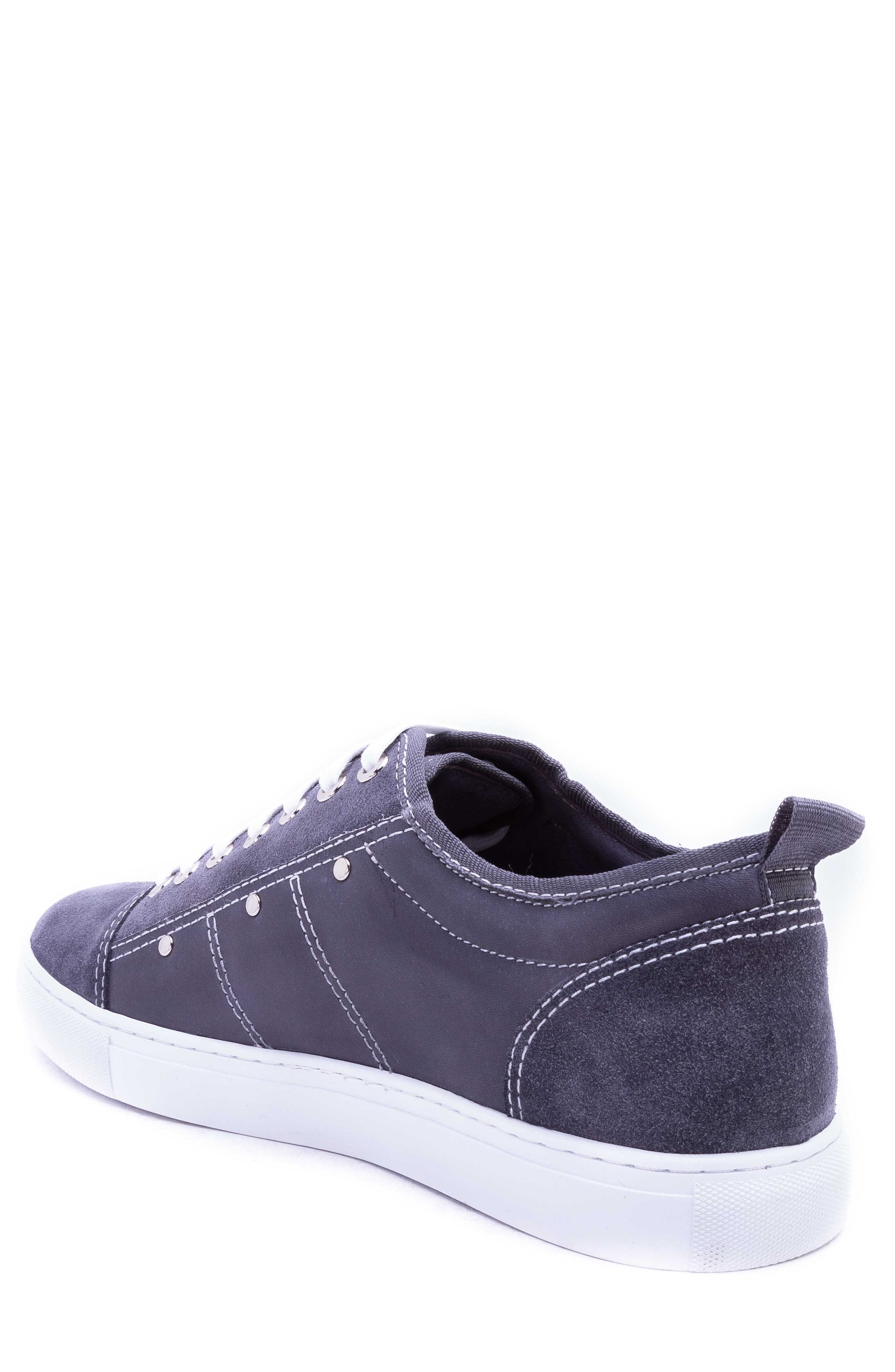 Severn Studded Low Top Sneaker,                             Alternate thumbnail 2, color,                             GREY SUEDE/ LEATHER