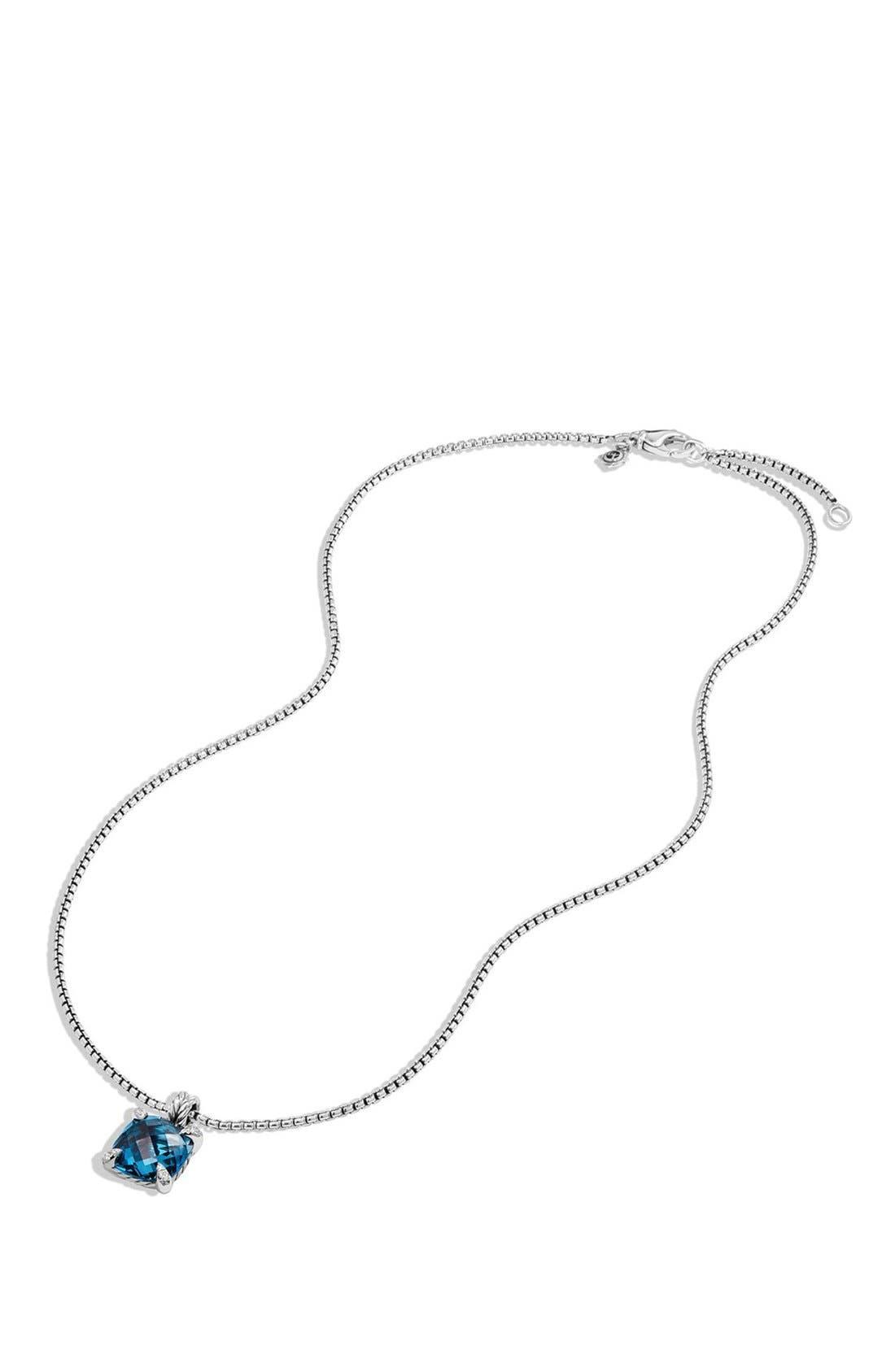 'Châtelaine' Pendant Necklace with Semiprecious Stone & Diamonds,                             Alternate thumbnail 3, color,                             SILVER/ HAMPTON BLUE TOPAZ