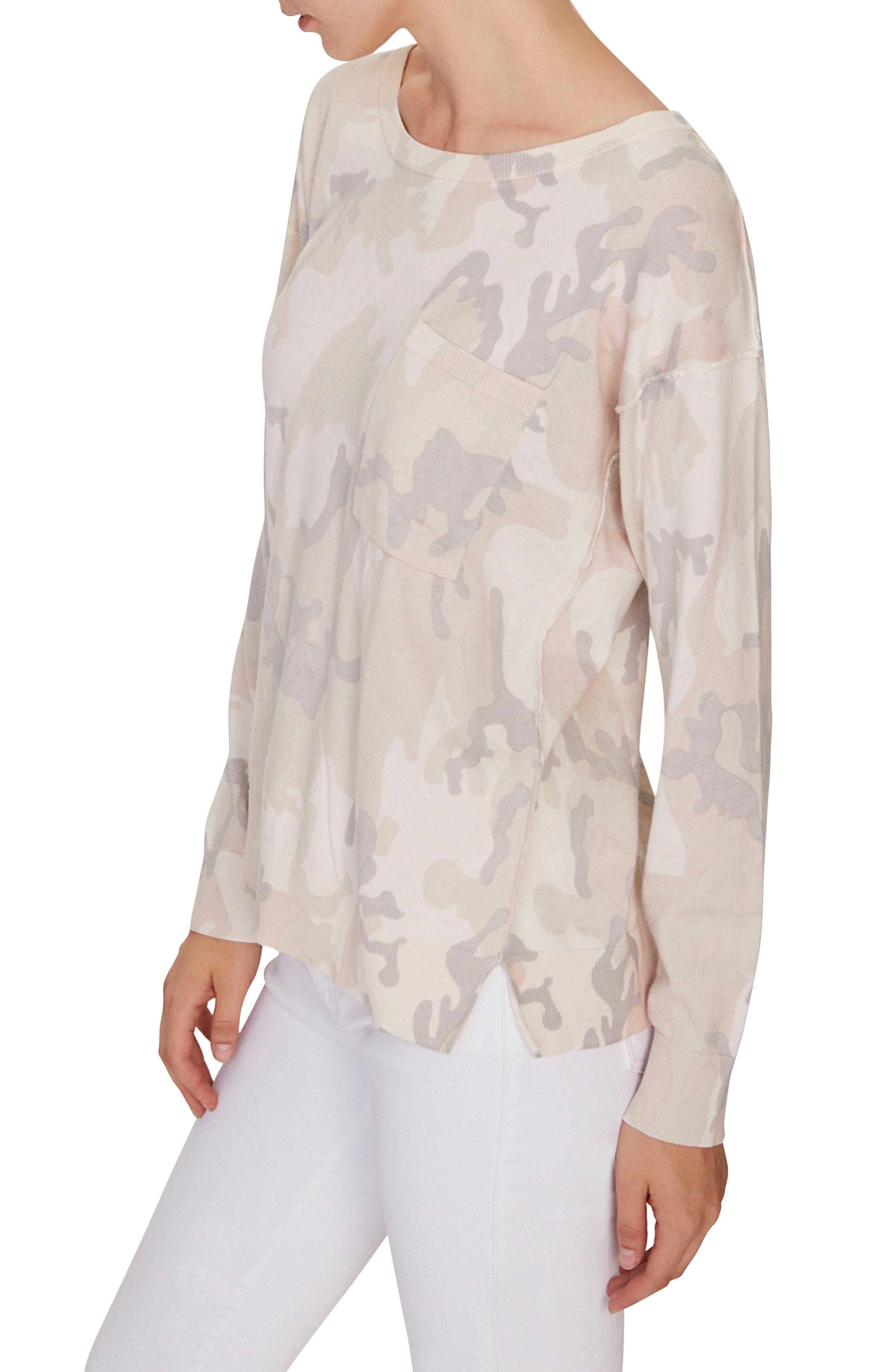 SANCTUARY,                             Pale Camo Cotton Blend Sweater,                             Alternate thumbnail 3, color,                             CHARM CAMO