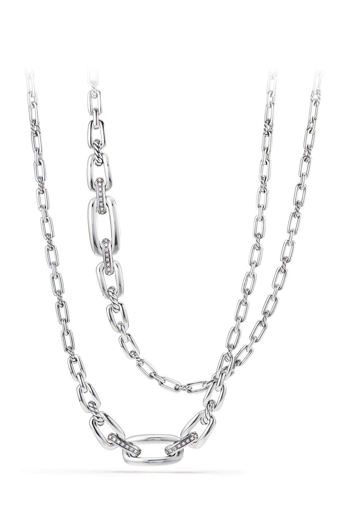 Wellesley Link Necklace with Diamonds,                         Main,                         color, SILVER