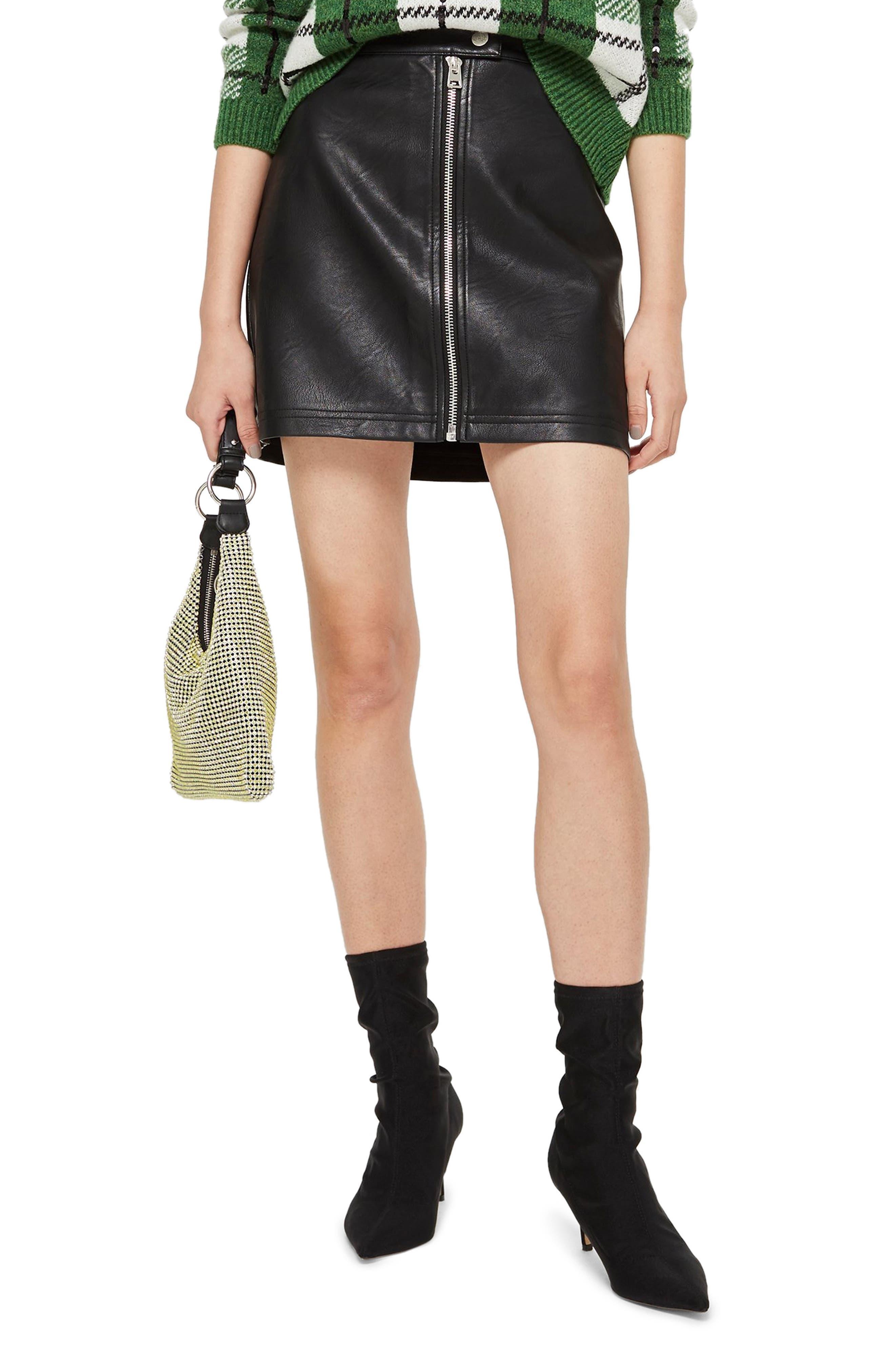 Topshop Penelope Faux Leather Miniskirt, US (fits like 10-12) - Black