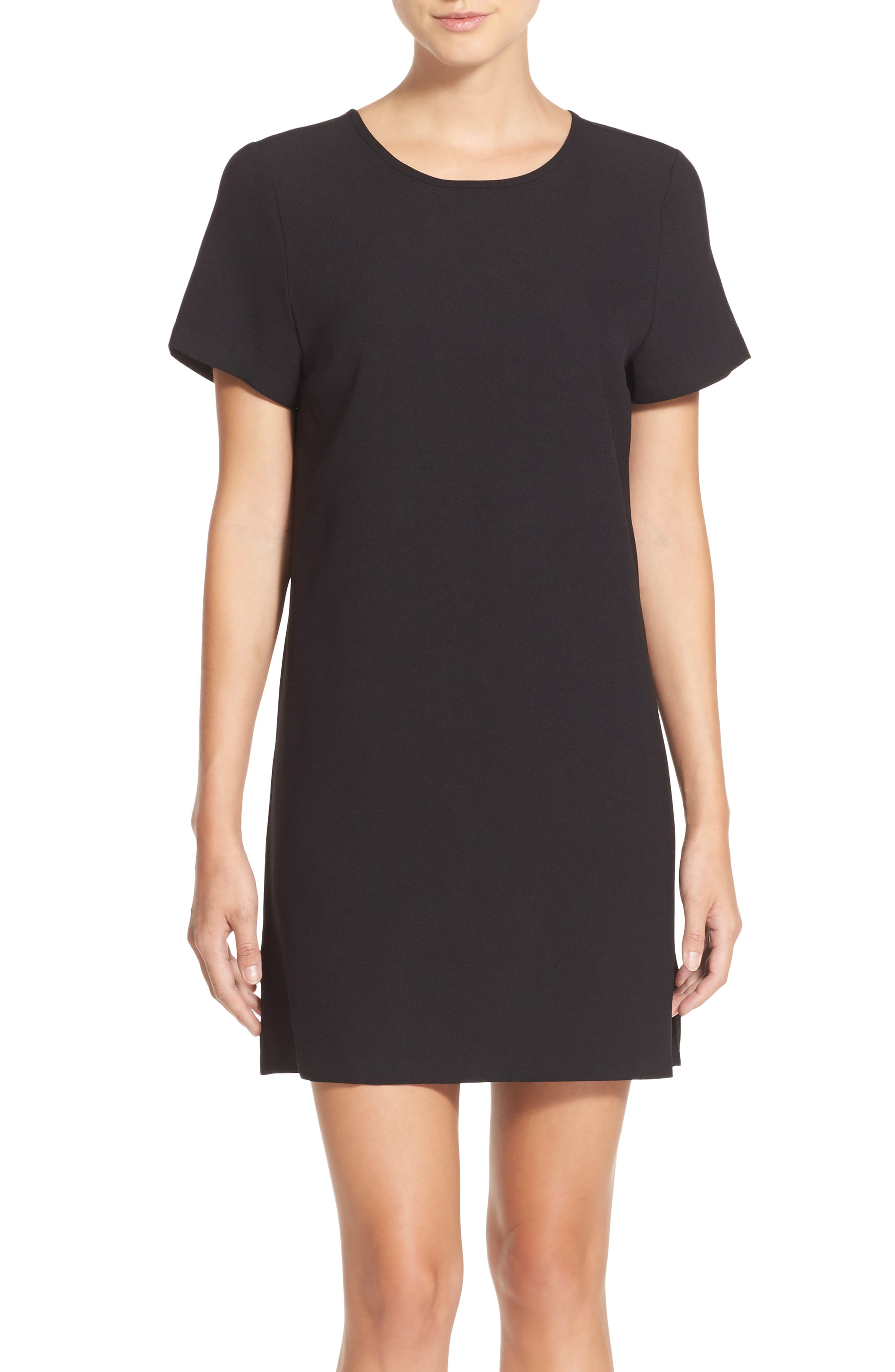 Devery Crepe Shift Dress,                         Main,                         color, BLACK