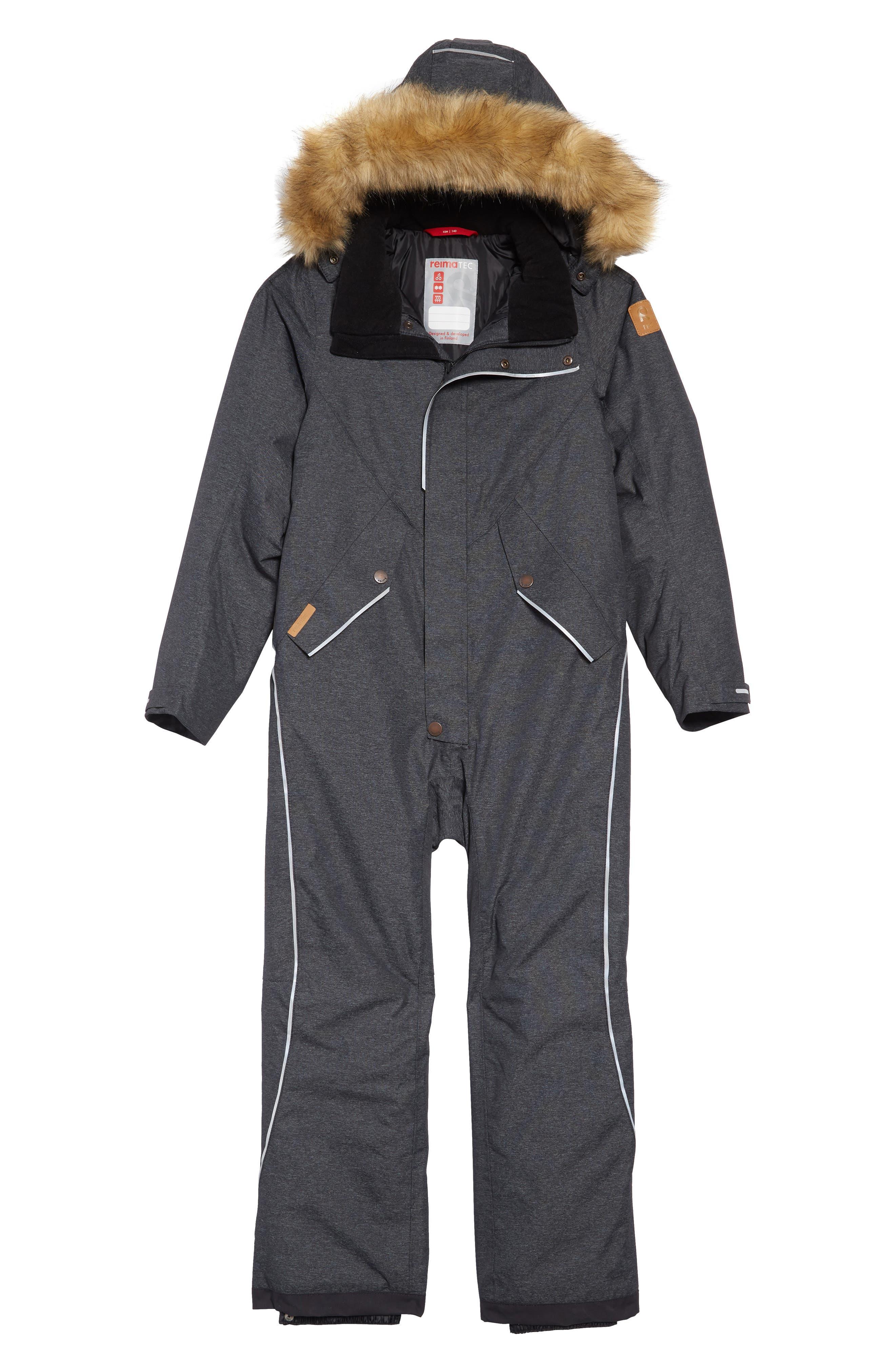 Boys Reima Vuoret Reimatec Waterproof Insulated Snow Suit With Faux Fur Trim Size 10Y  140 cm  Black