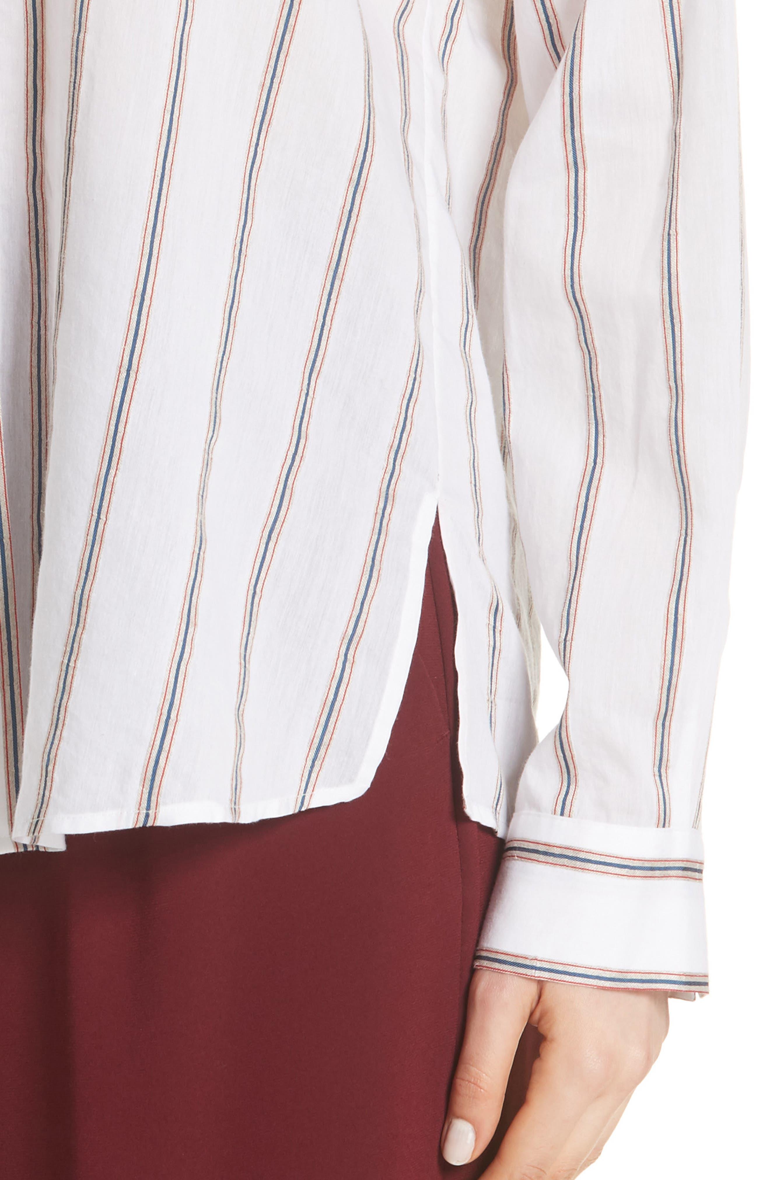 VINCE,                             Textured Stripe Blouse,                             Alternate thumbnail 4, color,                             137