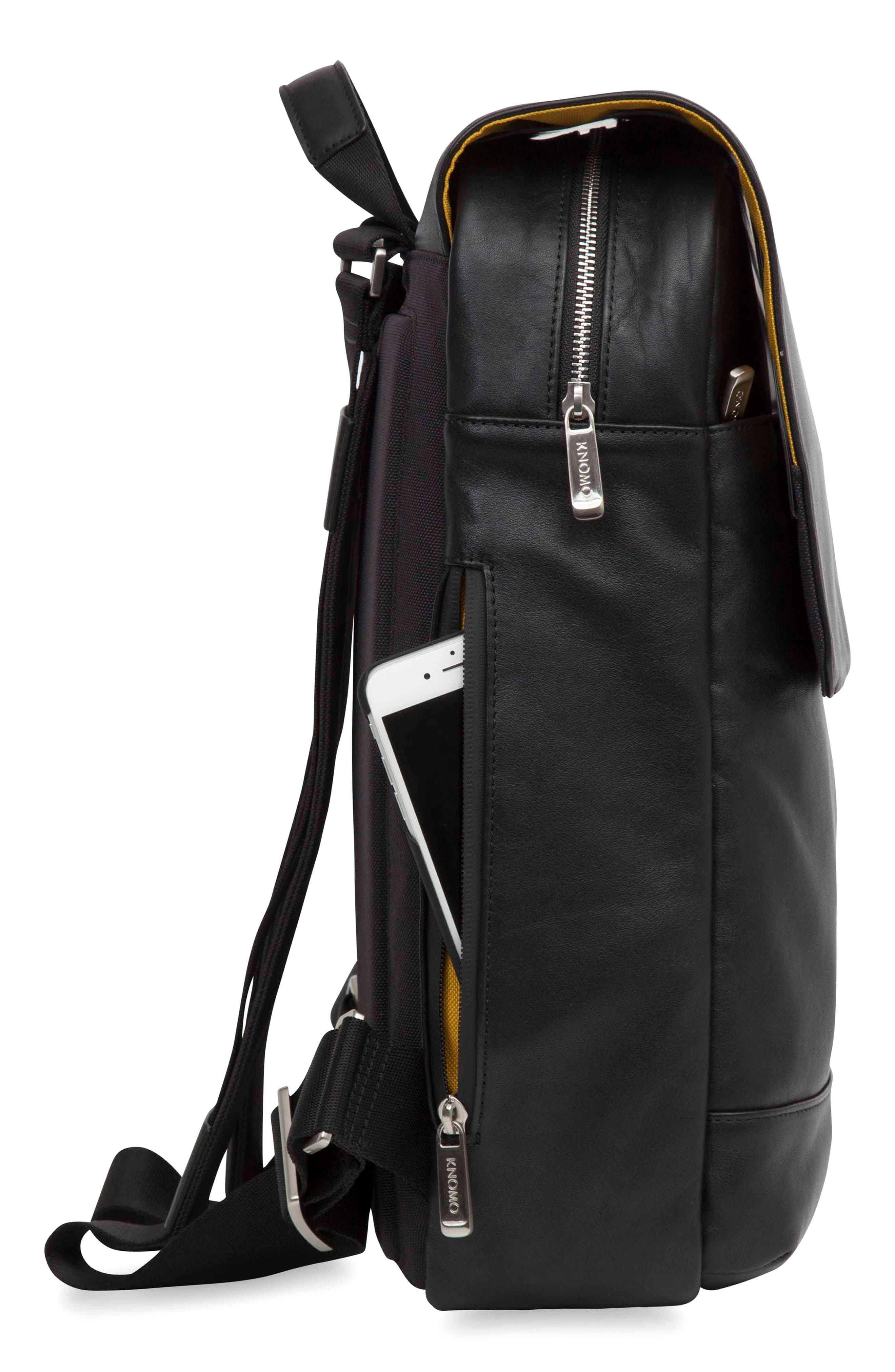 Brompton Hudson Leather Backpack,                             Alternate thumbnail 4, color,                             001