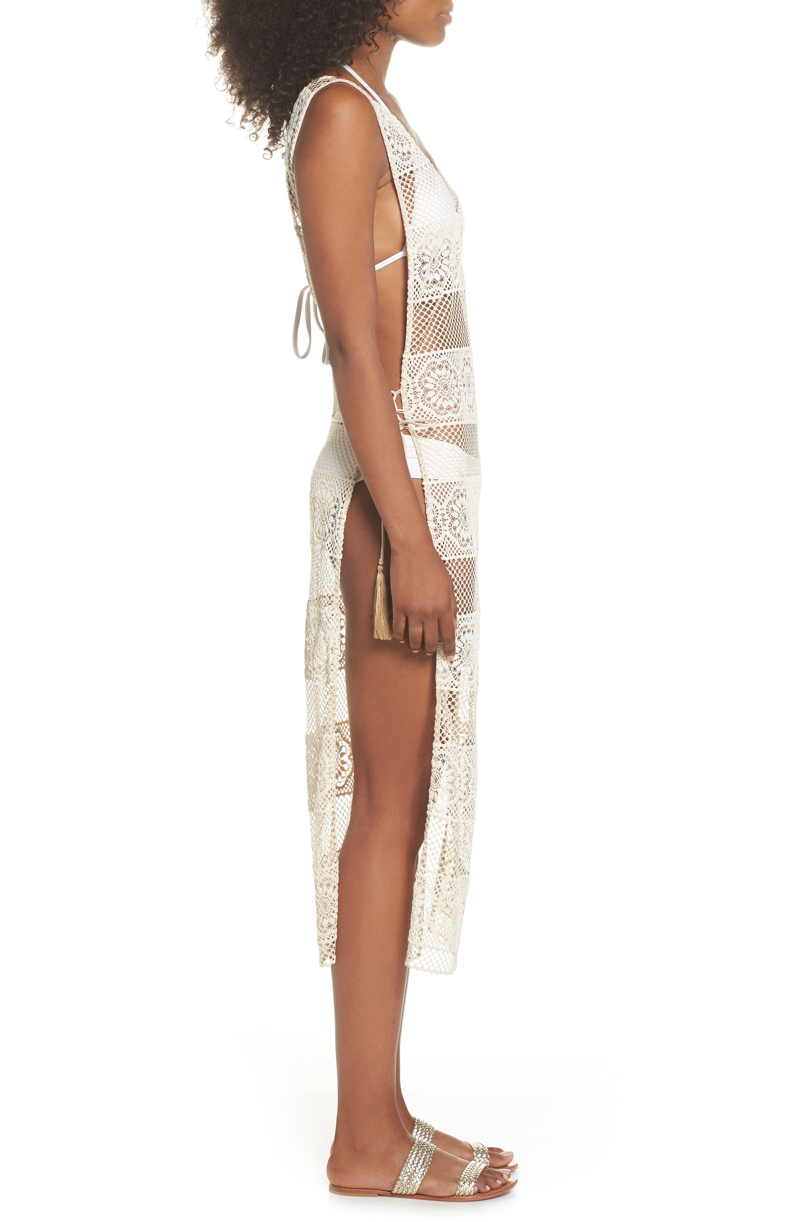 Joy Lace Cover-Up Dress,                             Alternate thumbnail 3, color,                             100