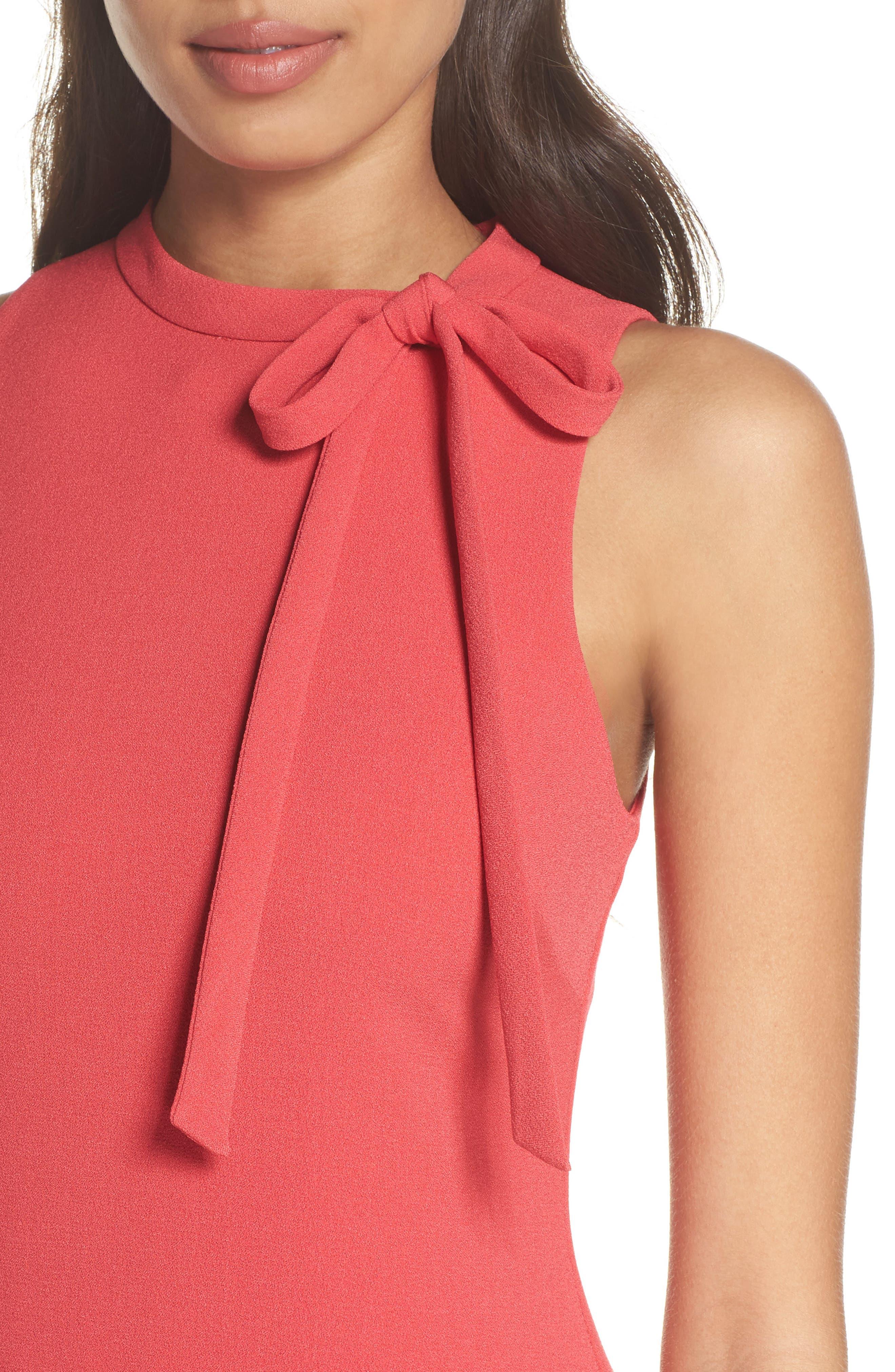 Tie Neck Flounce Hem Dress,                             Alternate thumbnail 4, color,