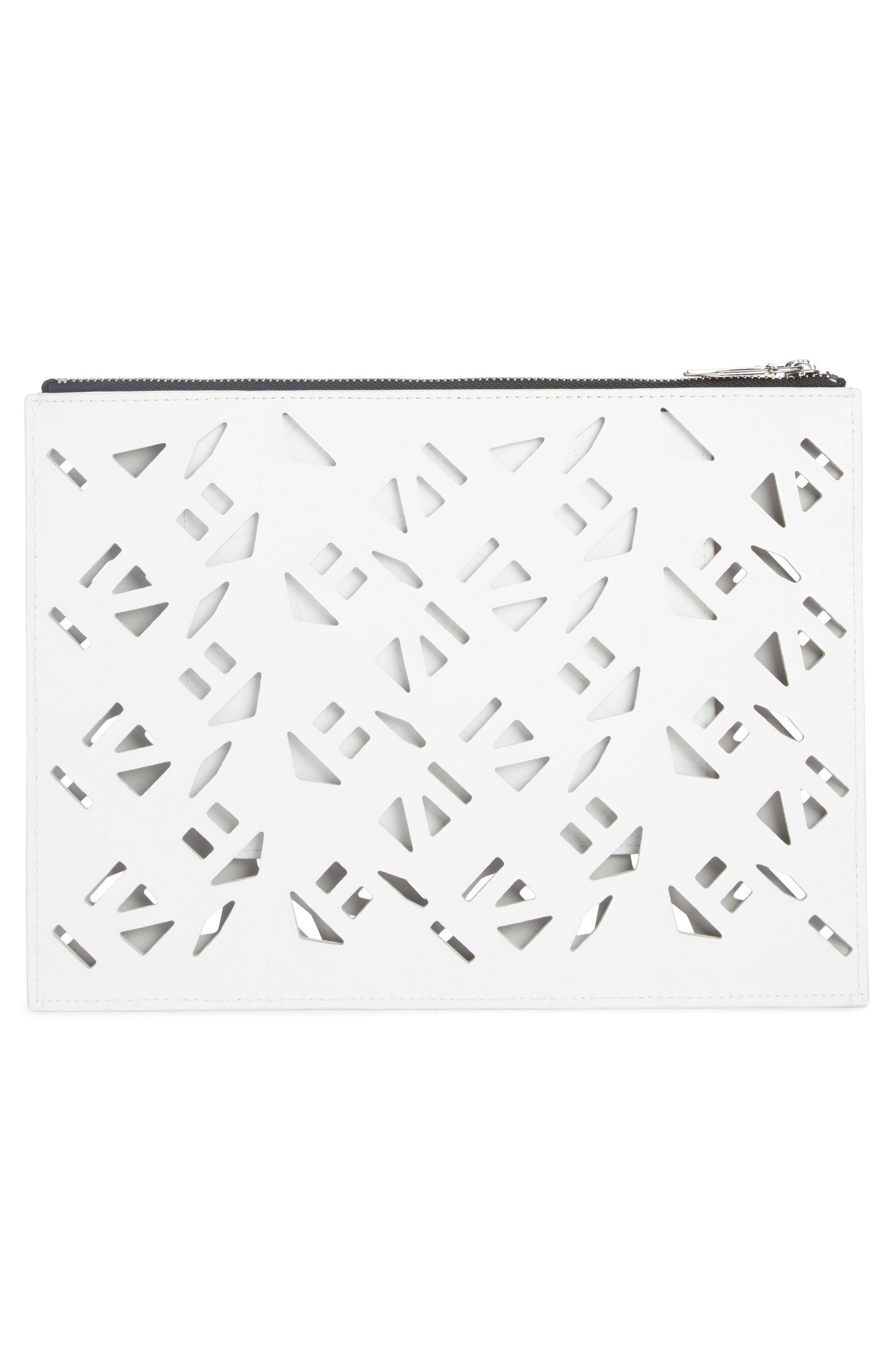 Art Gummy Perforated Leather A4 Pouch,                             Alternate thumbnail 2, color,
