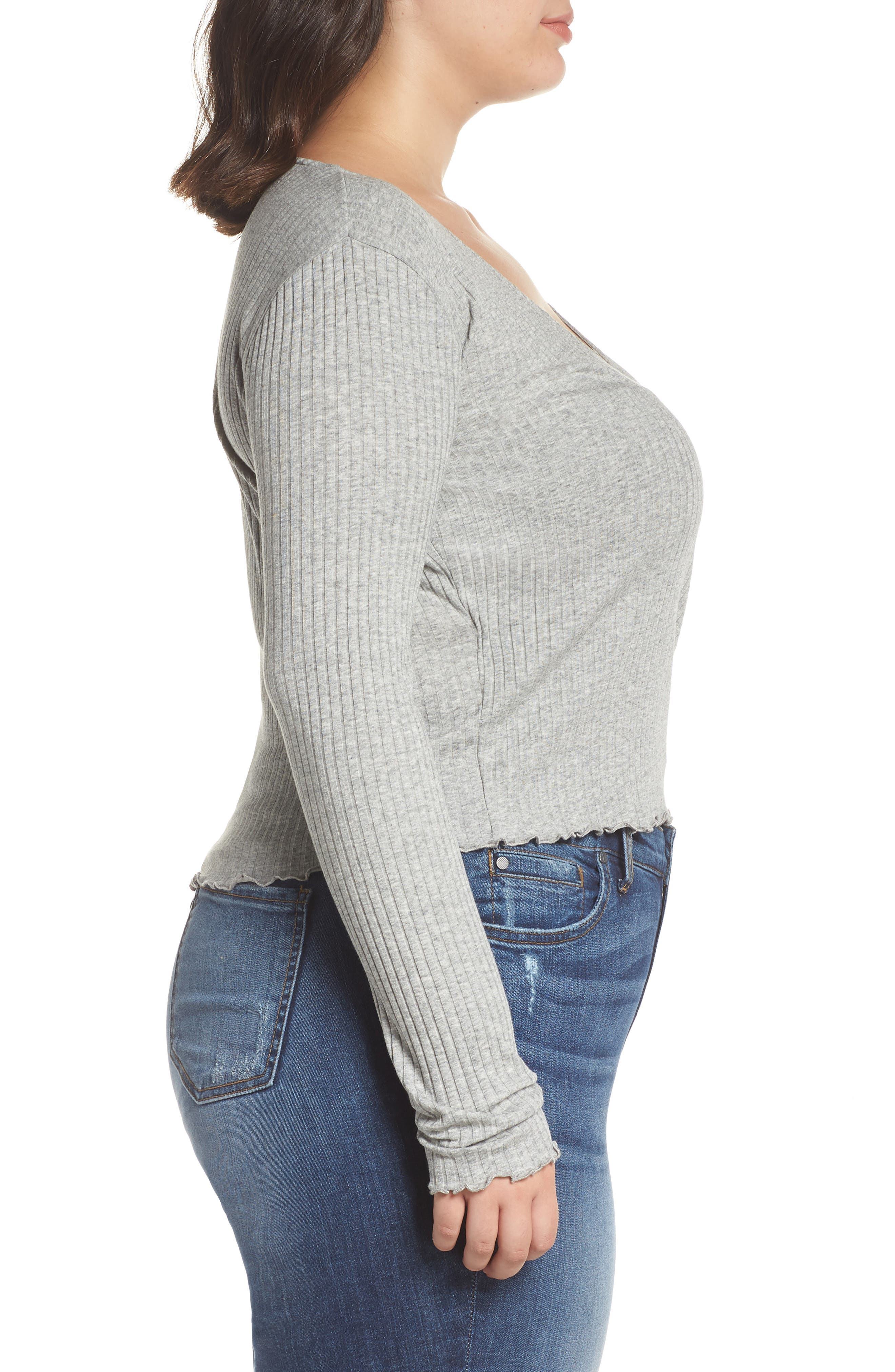 Lettuce Edge Ribbed Top,                             Alternate thumbnail 3, color,                             GREY MEDIUM HEATHER