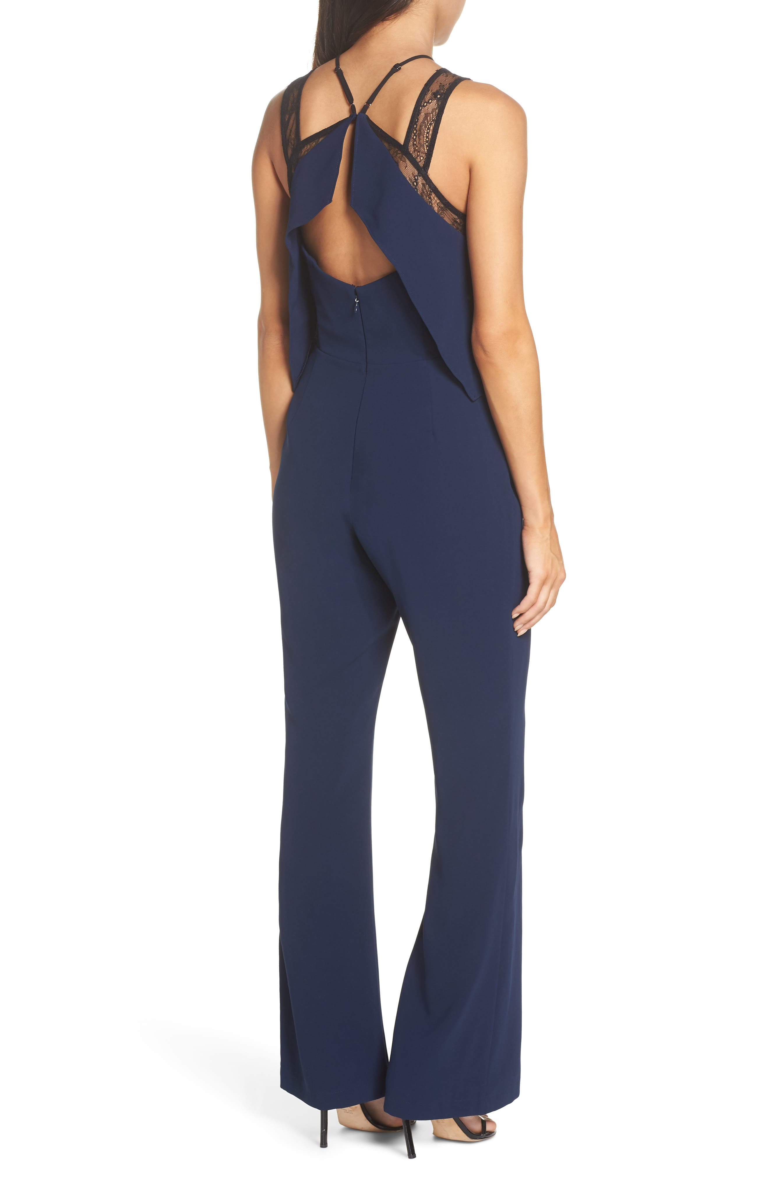 Lace Strap Popover Bodice Jumpsuit,                             Alternate thumbnail 2, color,                             NAVY