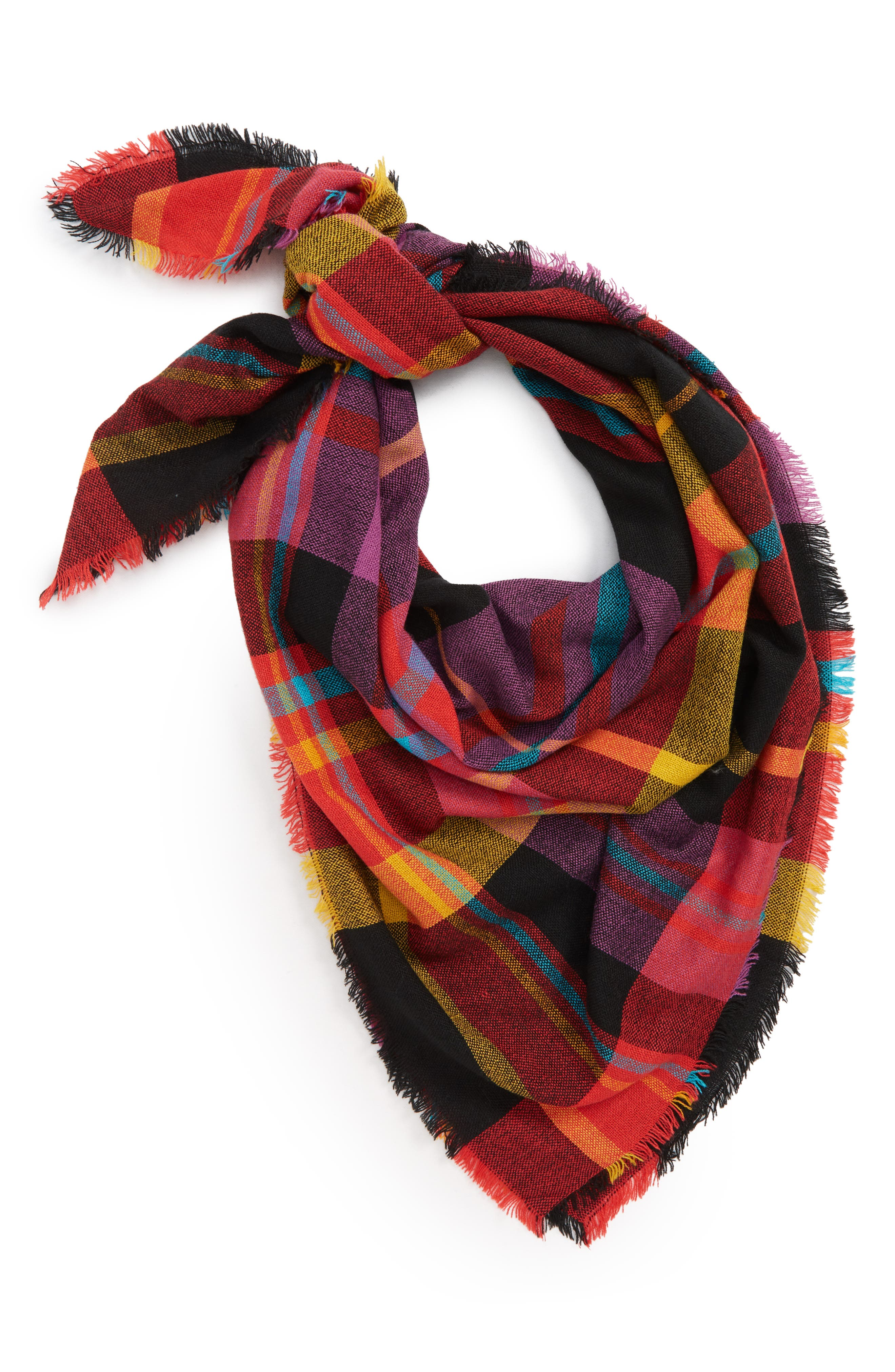 Multicolor Plaid Scarf,                             Main thumbnail 1, color,                             RED MULTI