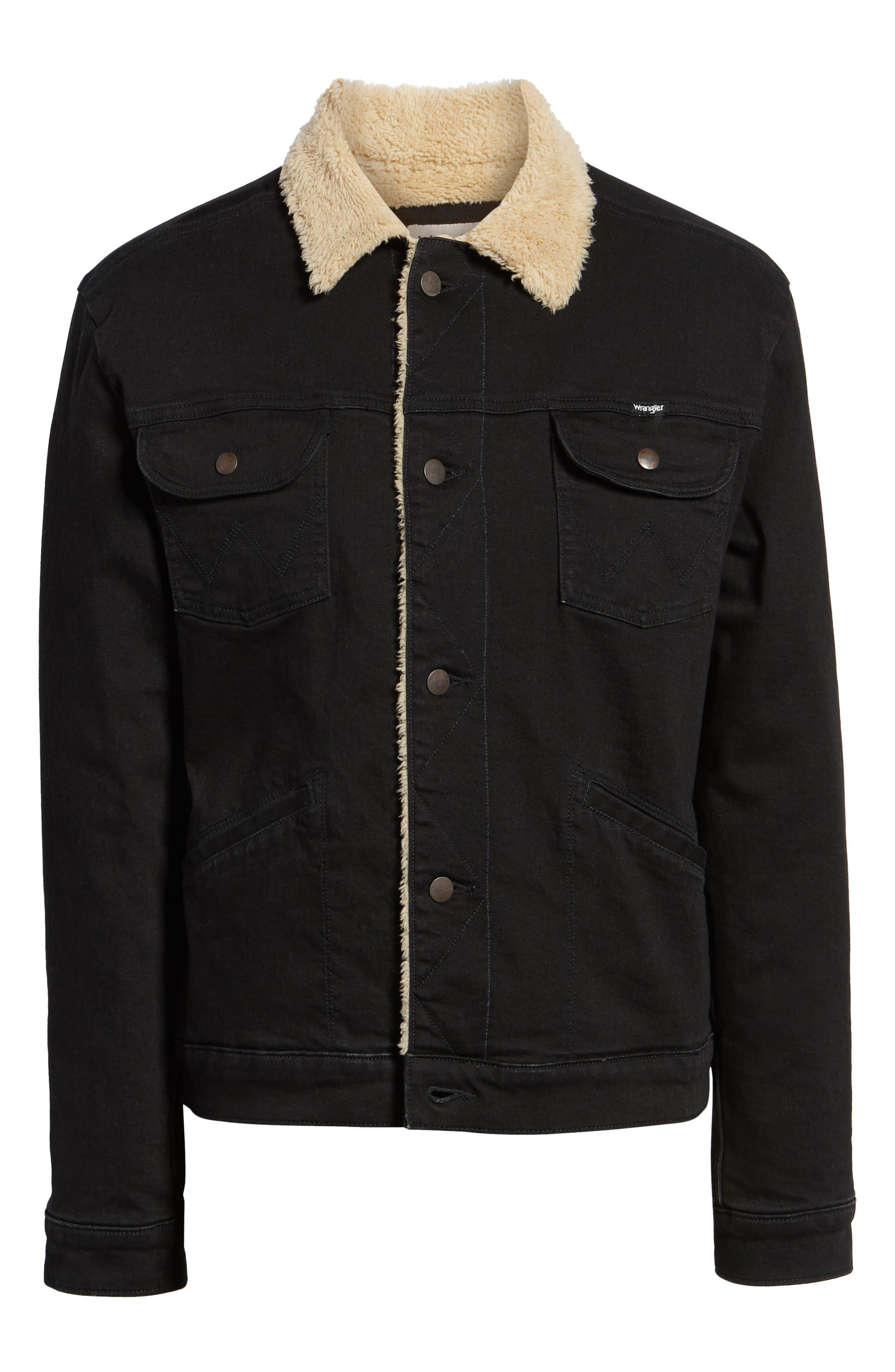 Heritage Fleece Lined Denim Jacket,                             Alternate thumbnail 6, color,                             BLACK