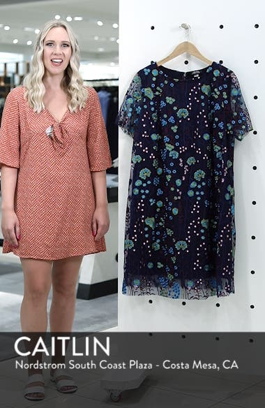Mesh Embroidered Shift Dress, sales video thumbnail