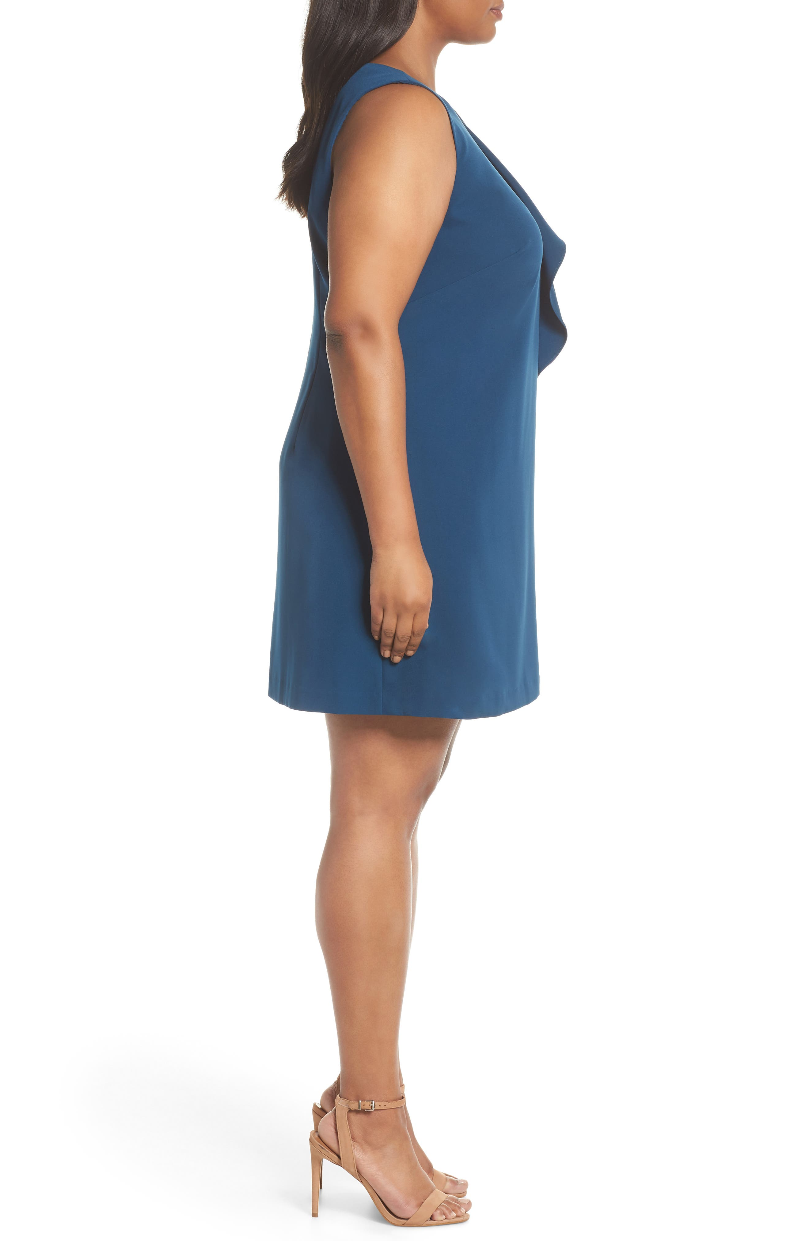 Ruffle Crepe A-Line Dress,                             Alternate thumbnail 3, color,                             400