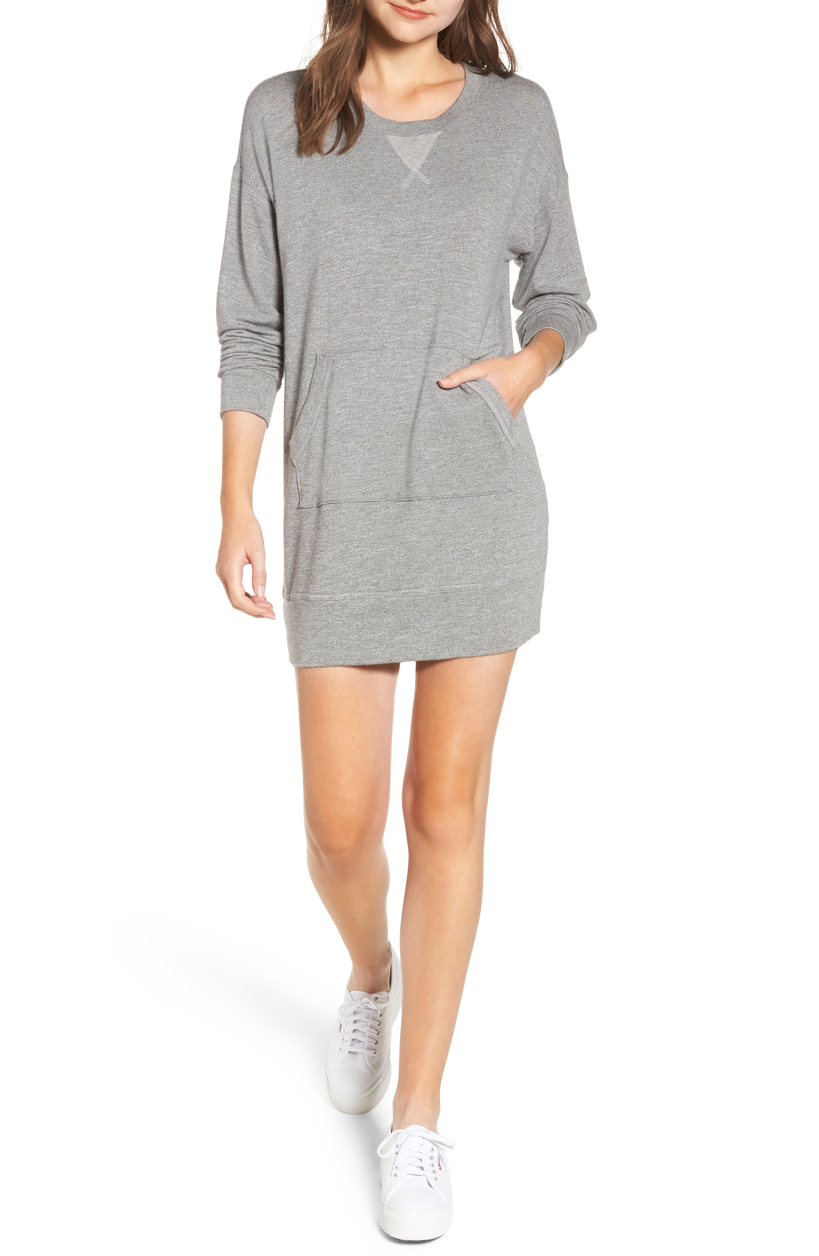 SPLENDID Classic Crewneck Pullover Sweatshirt Dress in Heather Grey