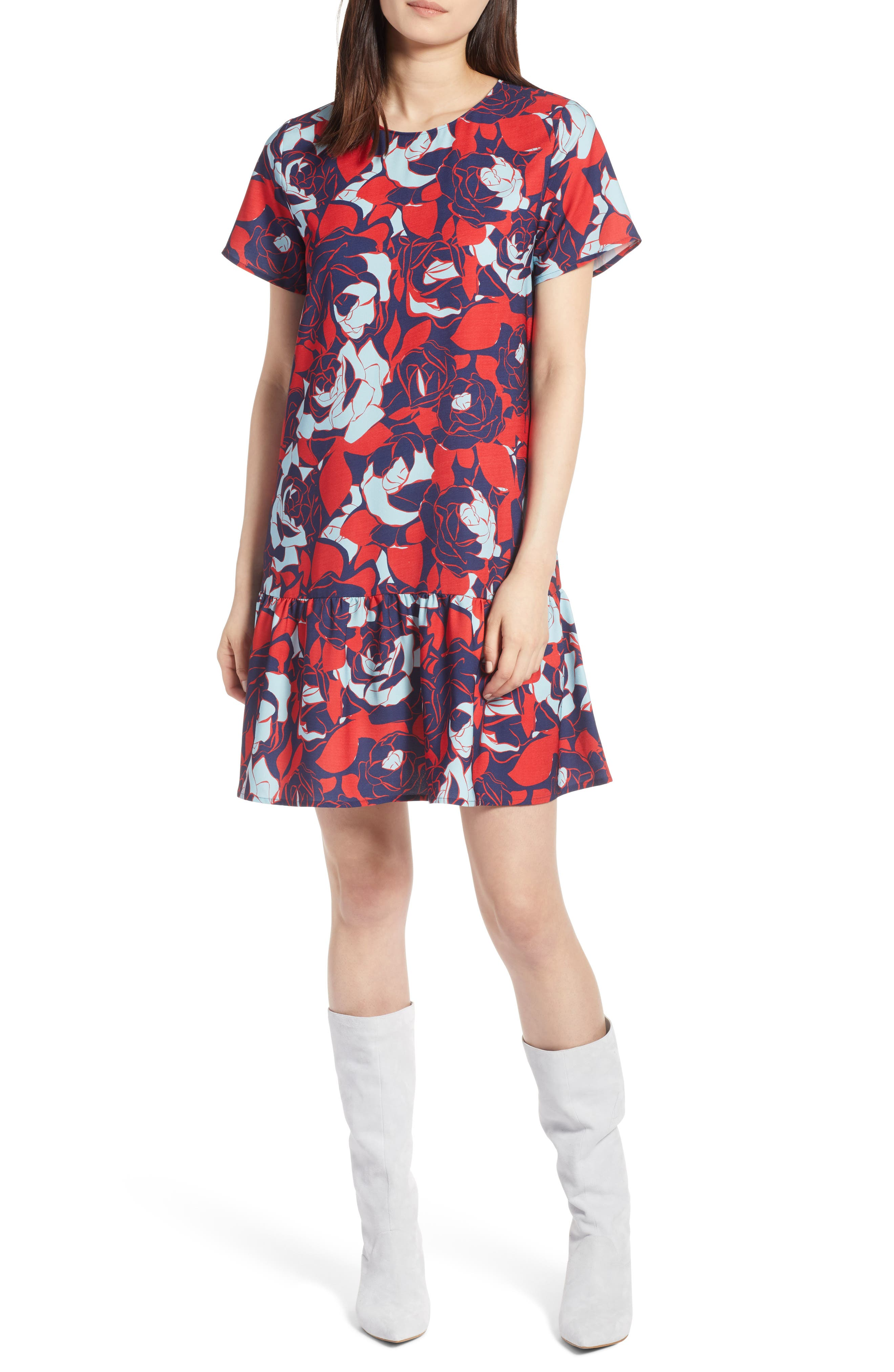 Short Sleeve Ruffle Hem Dress,                             Alternate thumbnail 30, color,