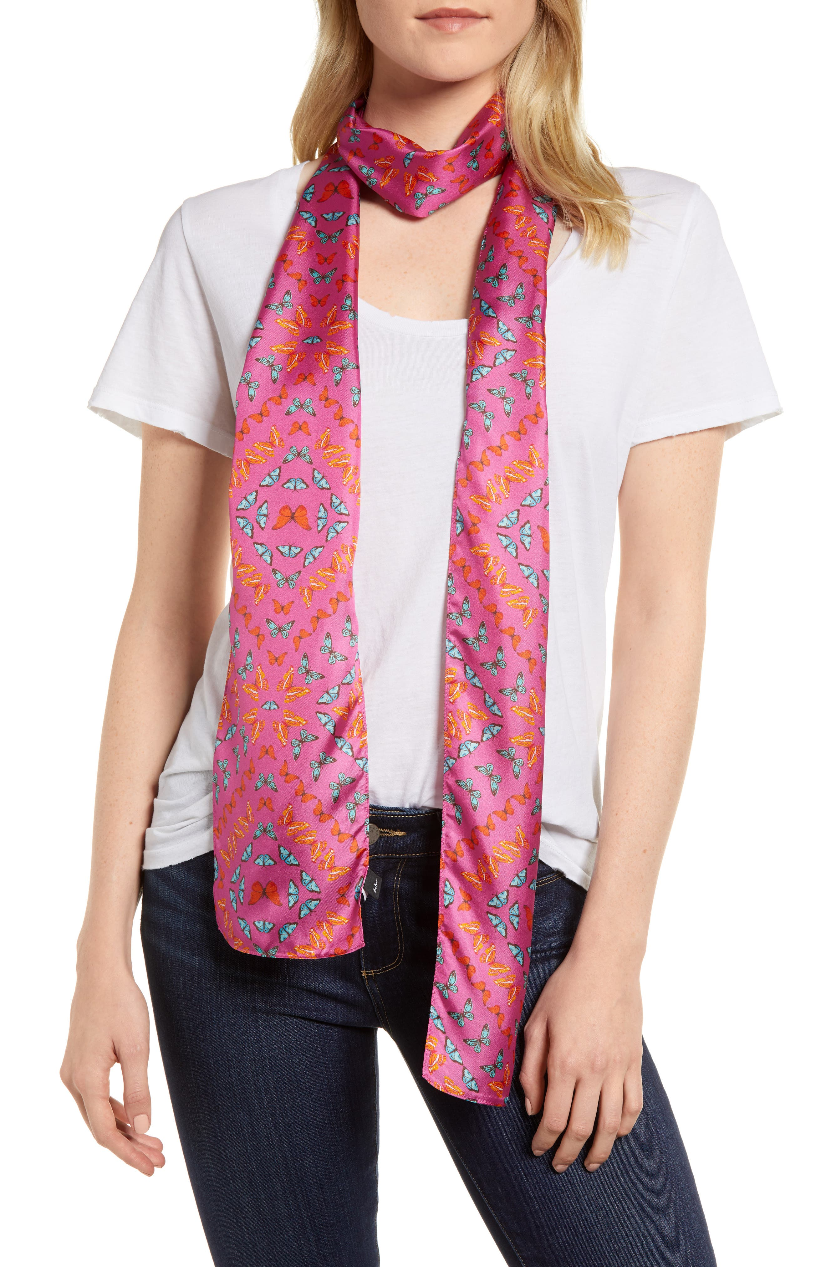 Ditzy Butterfly Silk Scarf,                             Main thumbnail 3, color,