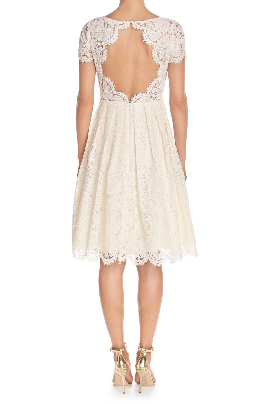 Cadence Keyhole Back Lace Fit & Flare Dress,                             Alternate thumbnail 2, color,                             905