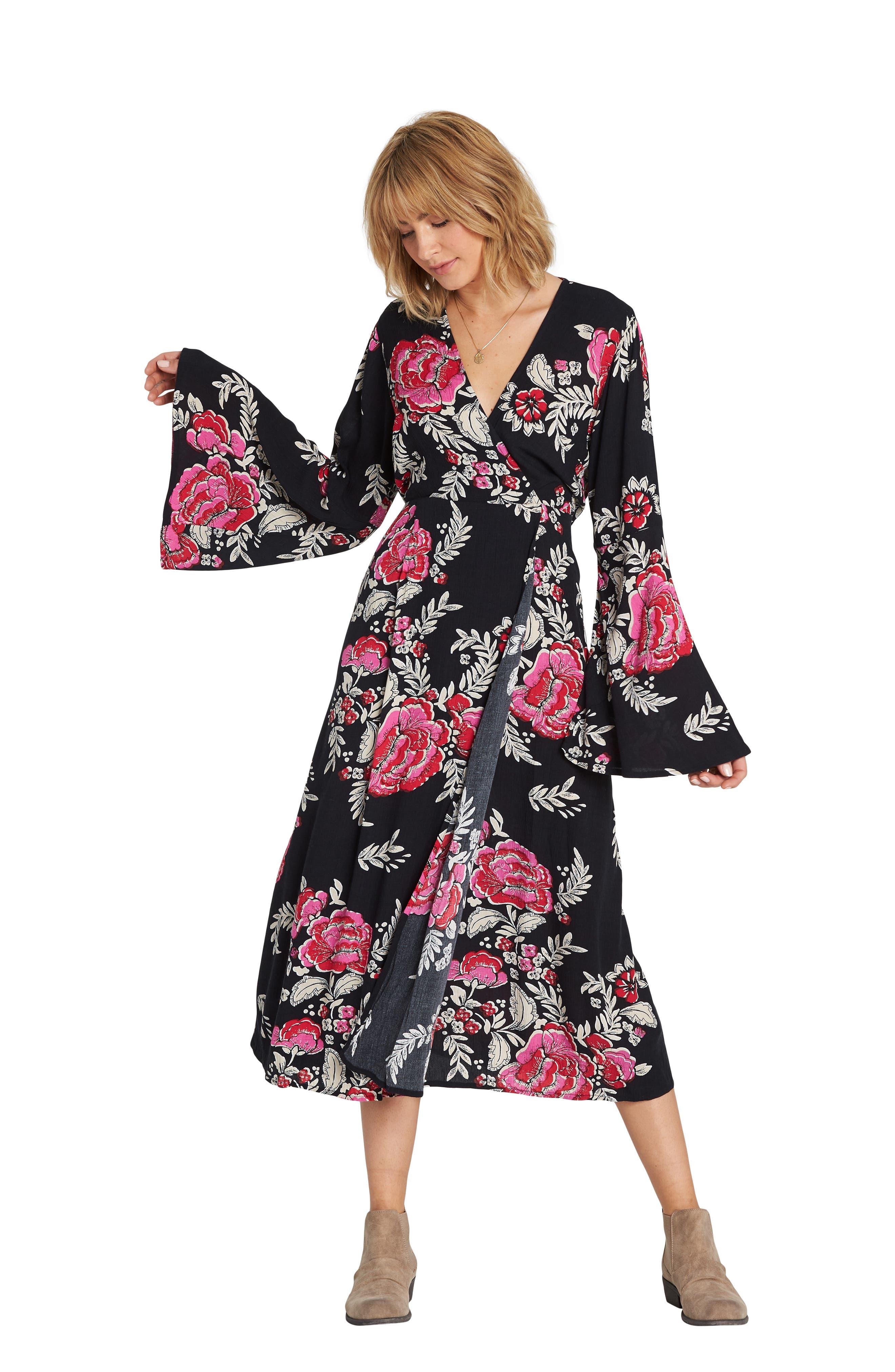 Floral Whispers Floral Midi Dress,                             Alternate thumbnail 3, color,                             BLACK
