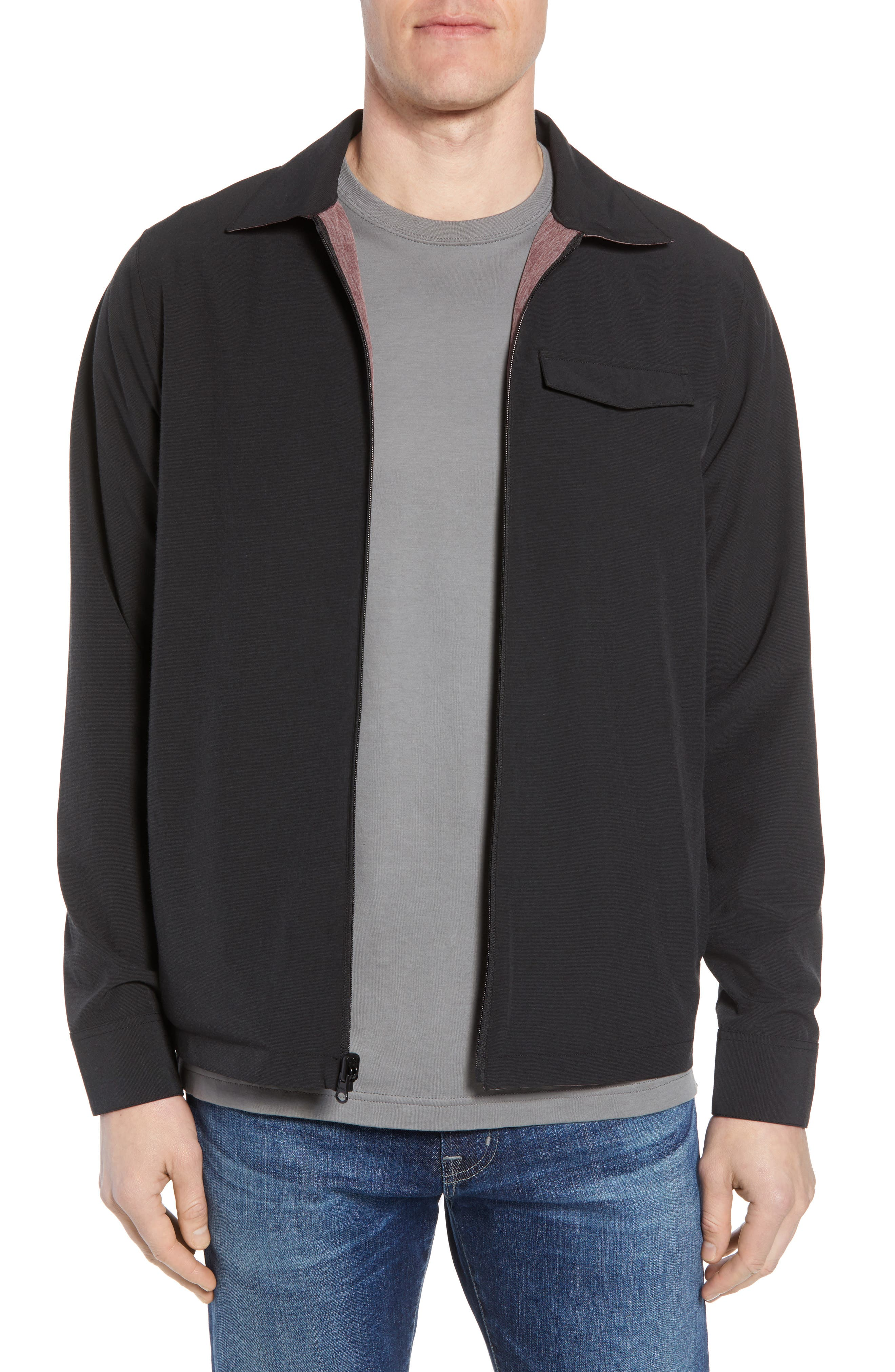 Battery Reversible Jacket,                         Main,                         color, BLACK/ WINETASTING