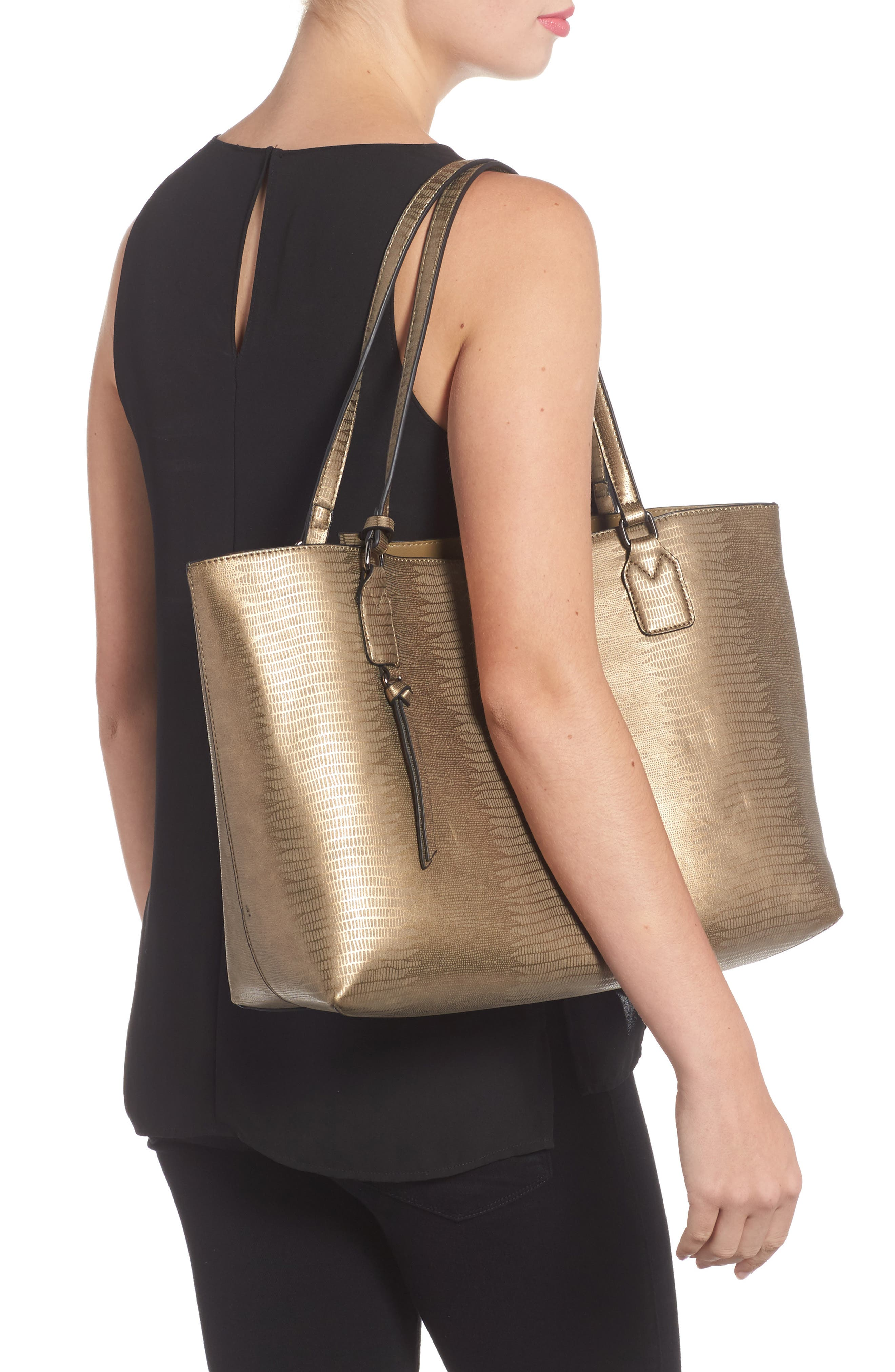 Snake Embossed Faux Leather Tote,                             Alternate thumbnail 2, color,                             020