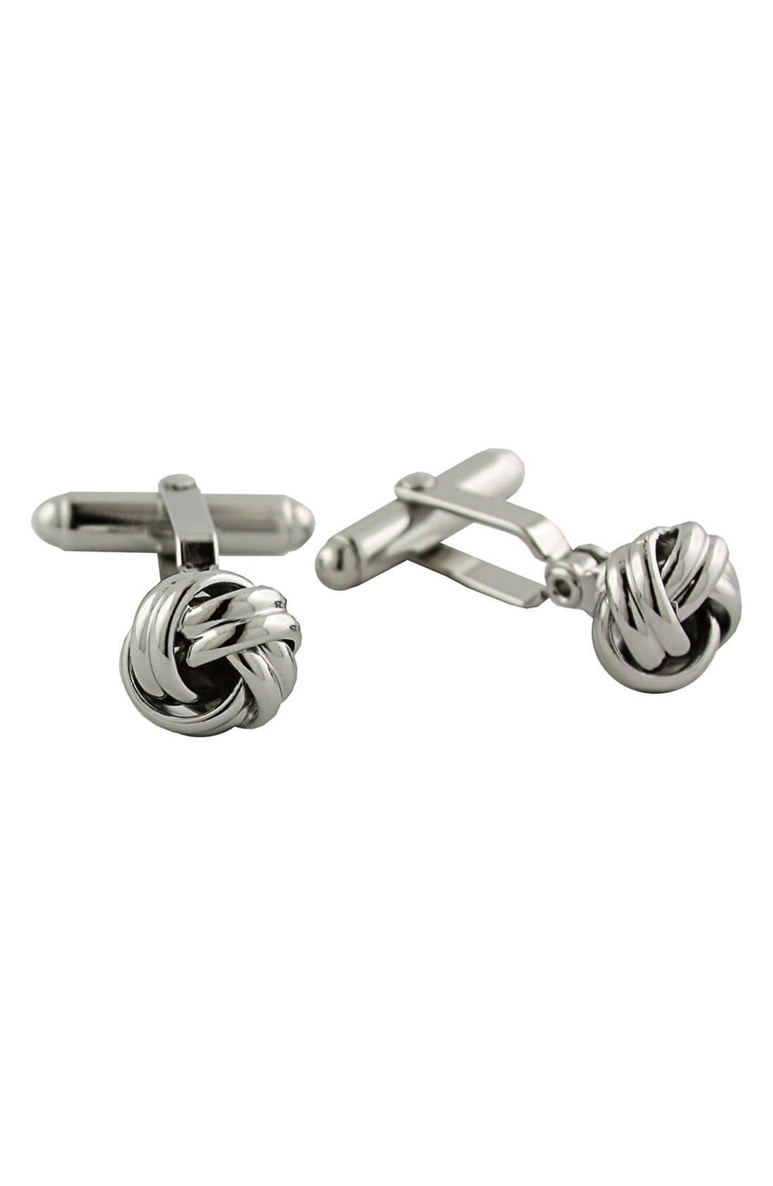 Knot Cuff Links,                         Main,                         color, SILVER