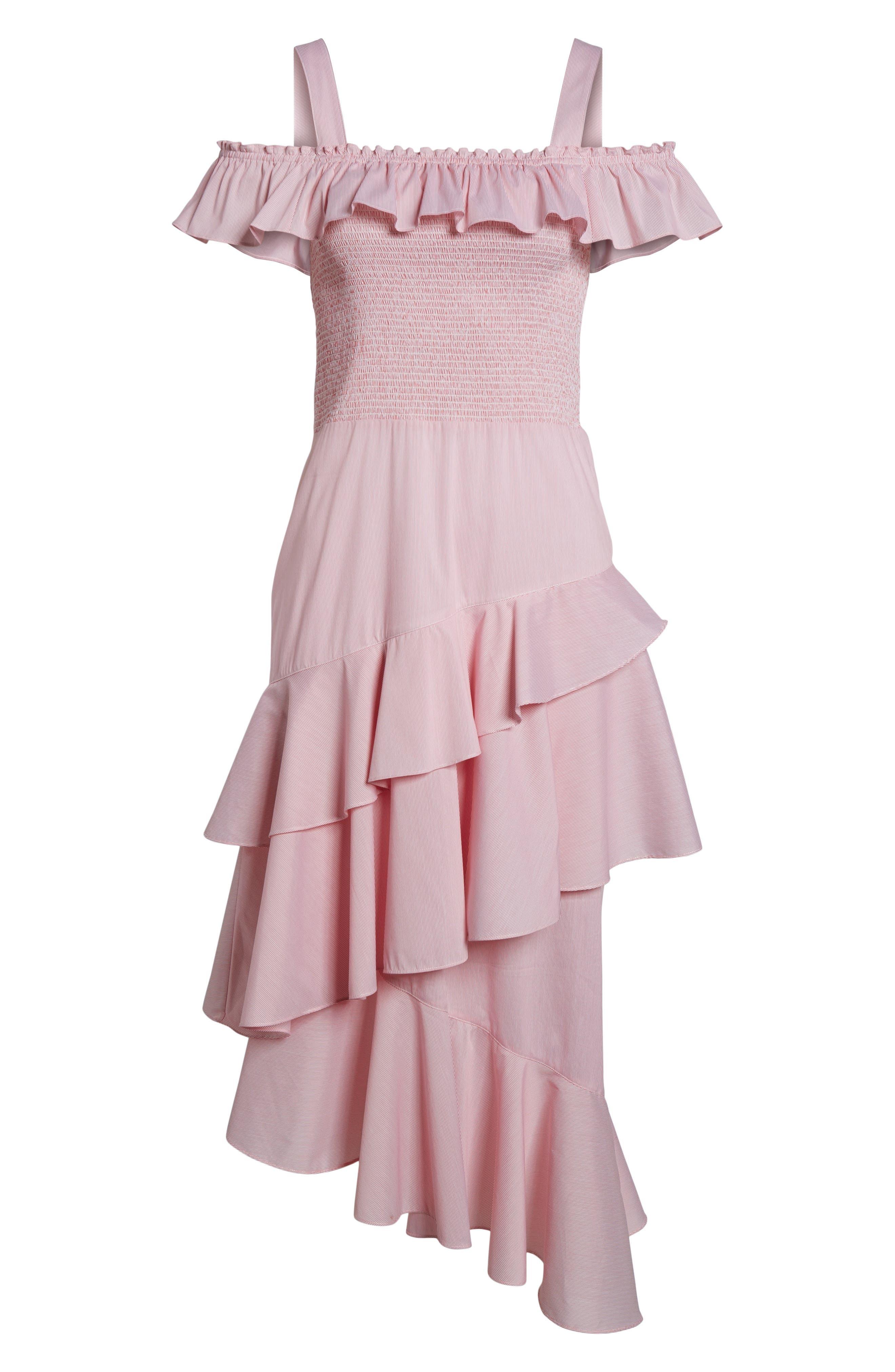 Ruffle Smocked Cold Shoulder Dress,                             Alternate thumbnail 12, color,