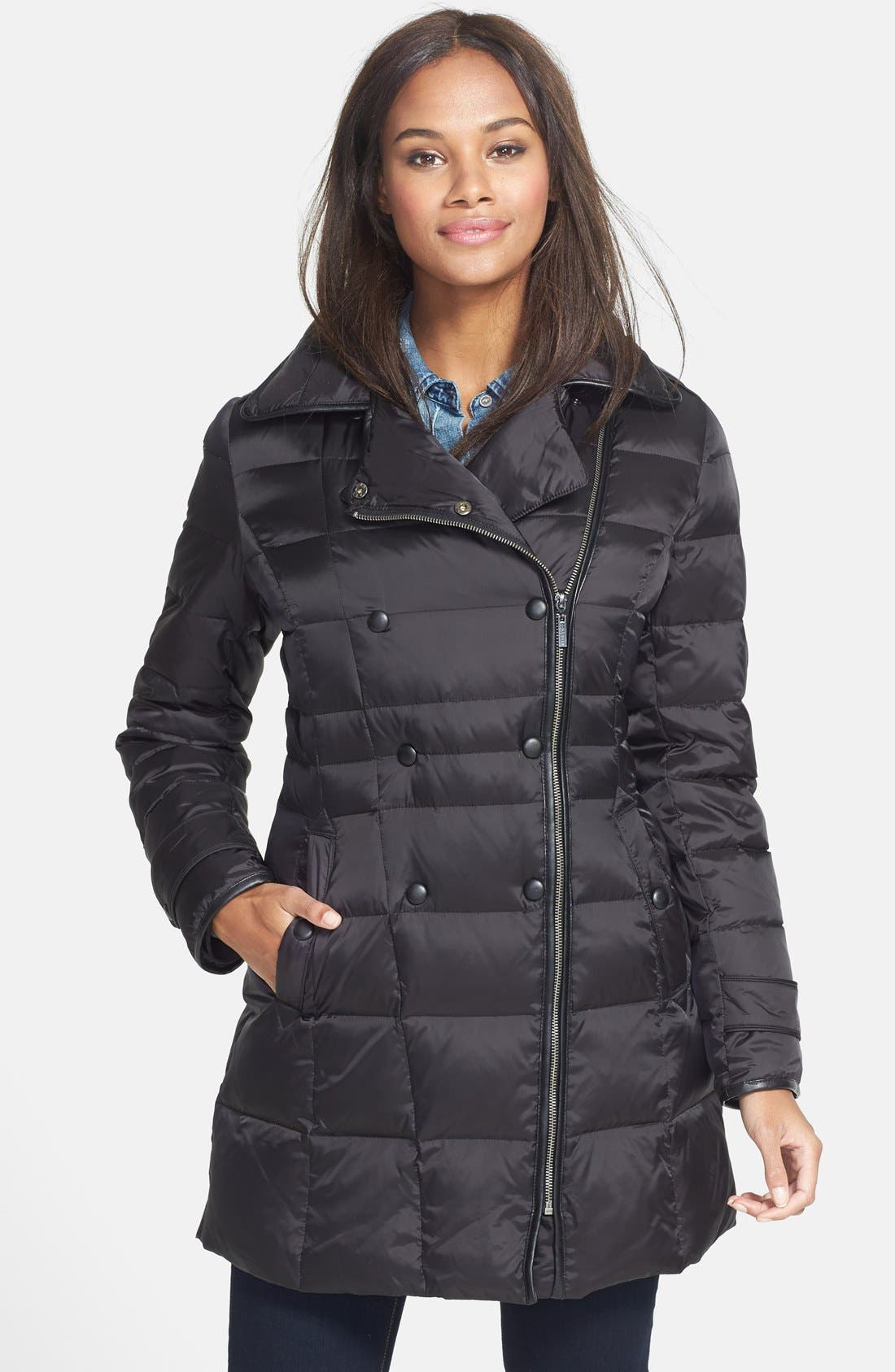 COLE HAAN,                             Asymmetrical Double Breasted Down Coat,                             Main thumbnail 1, color,                             001