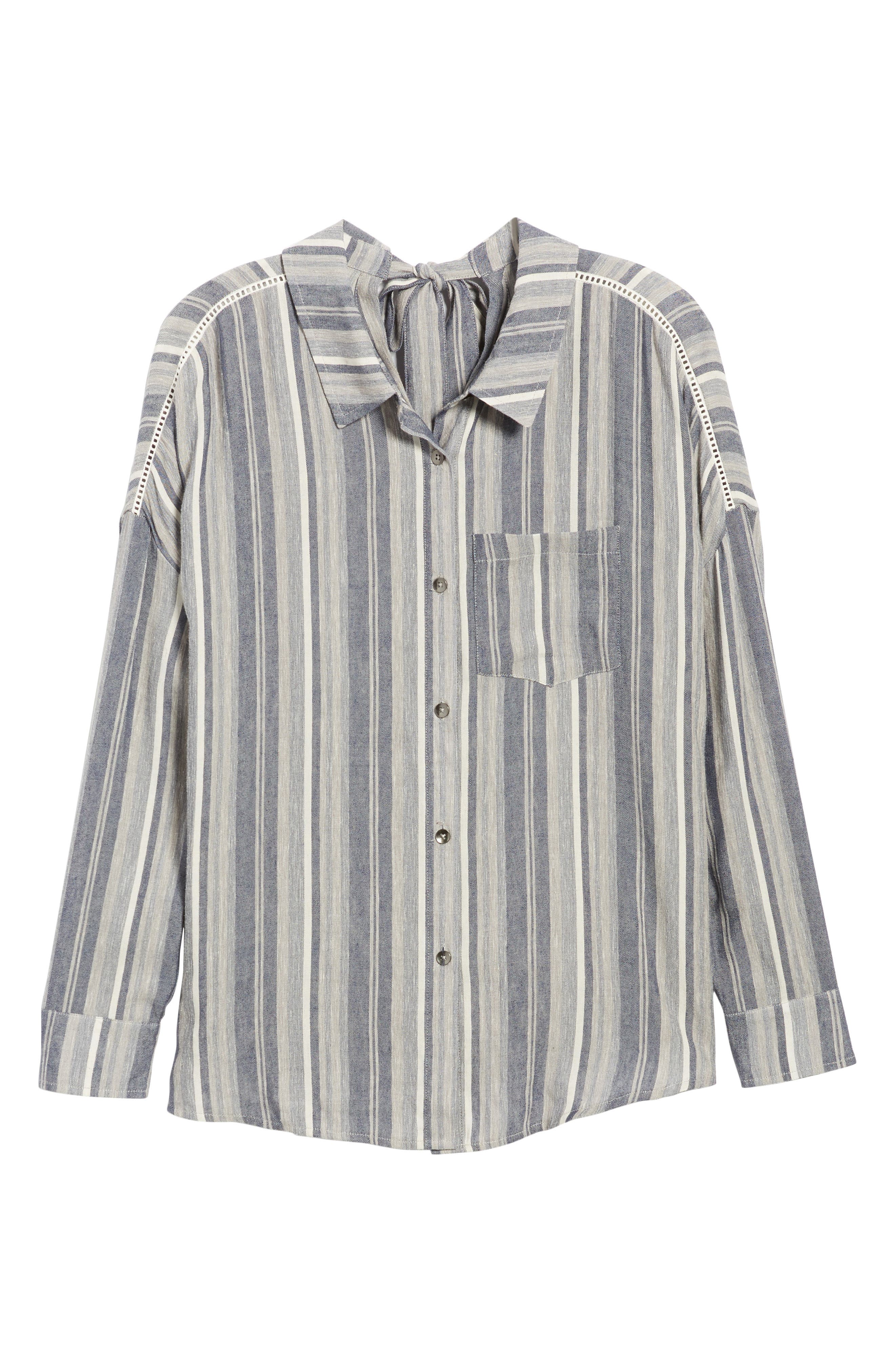 Stripe Chambray Shirt,                             Alternate thumbnail 6, color,                             466