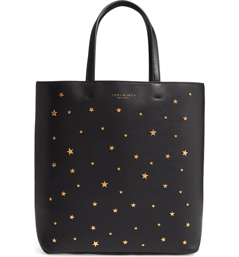 Tory Burch Leathers SMALL STAR STUDDED LEATHER TOTE - BLACK