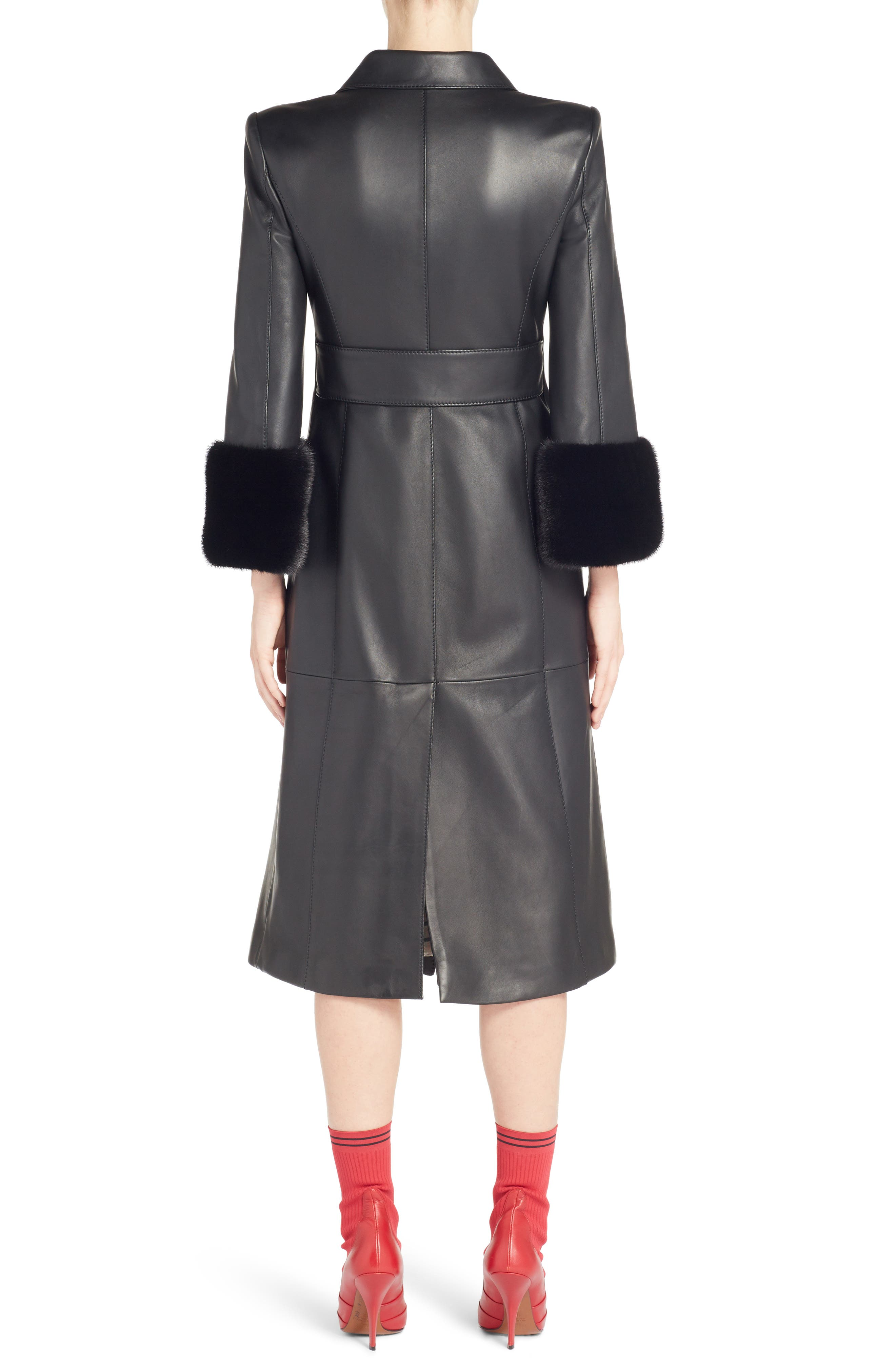 FENDI,                             Leather Double Breasted Coat with Genuine Mink Fur Trim,                             Alternate thumbnail 2, color,                             BLACK
