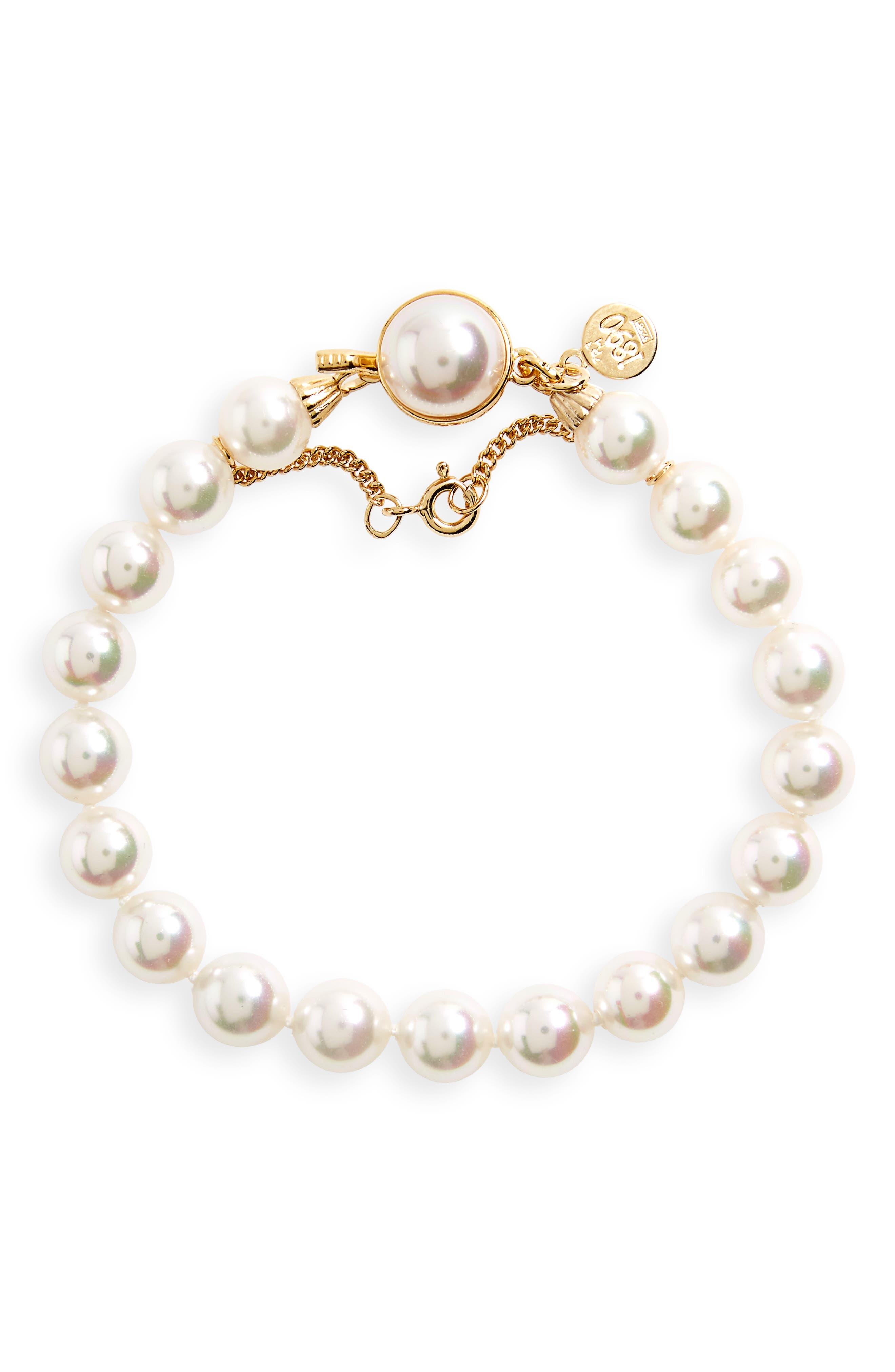 8mm Single Row Pearl Bracelet,                             Alternate thumbnail 2, color,                             WHITE/ GOLD