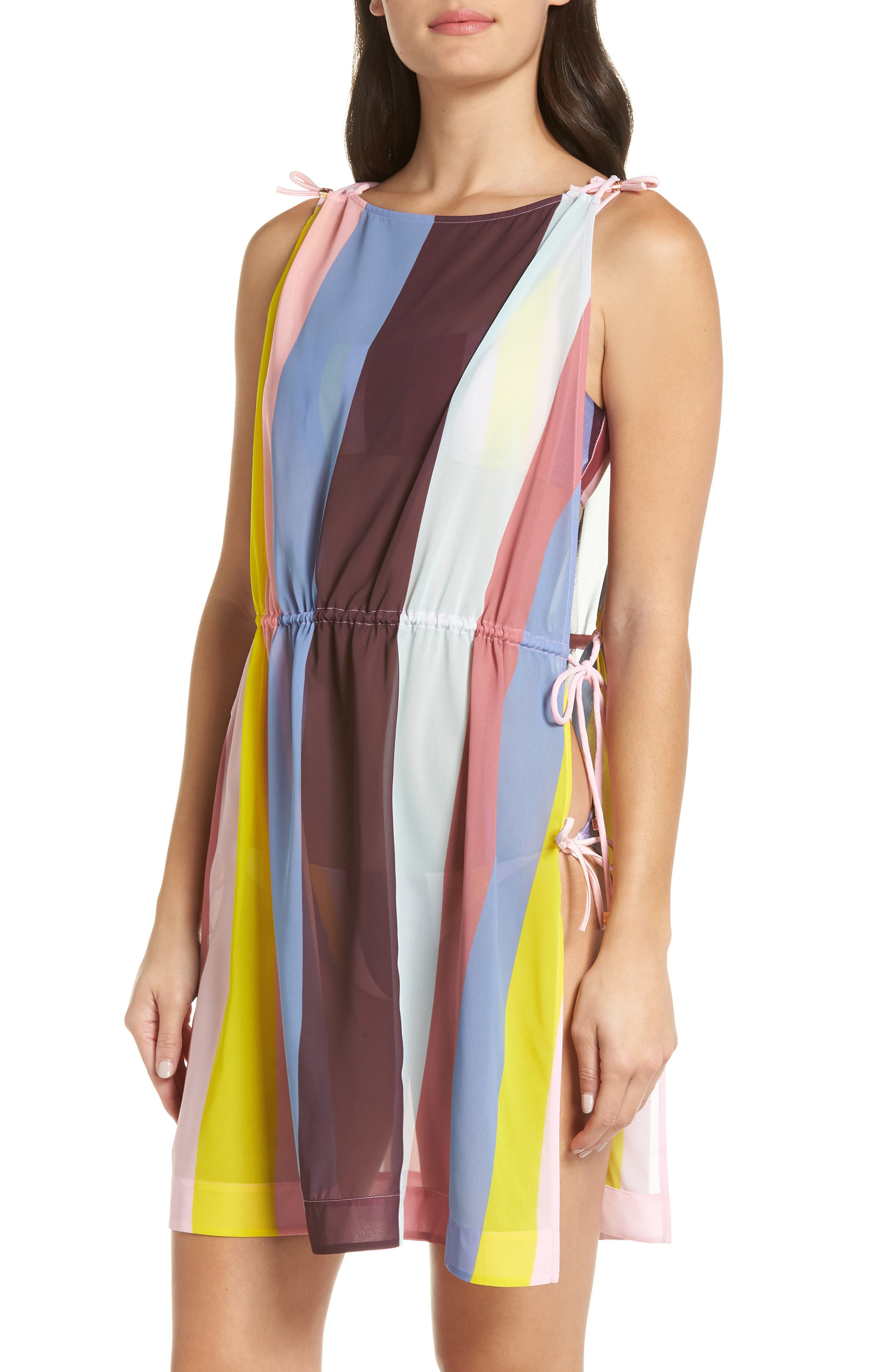 Penaree Rio Stripe Tabbard Cover-Up,                         Main,                         color, LIGHT PINK