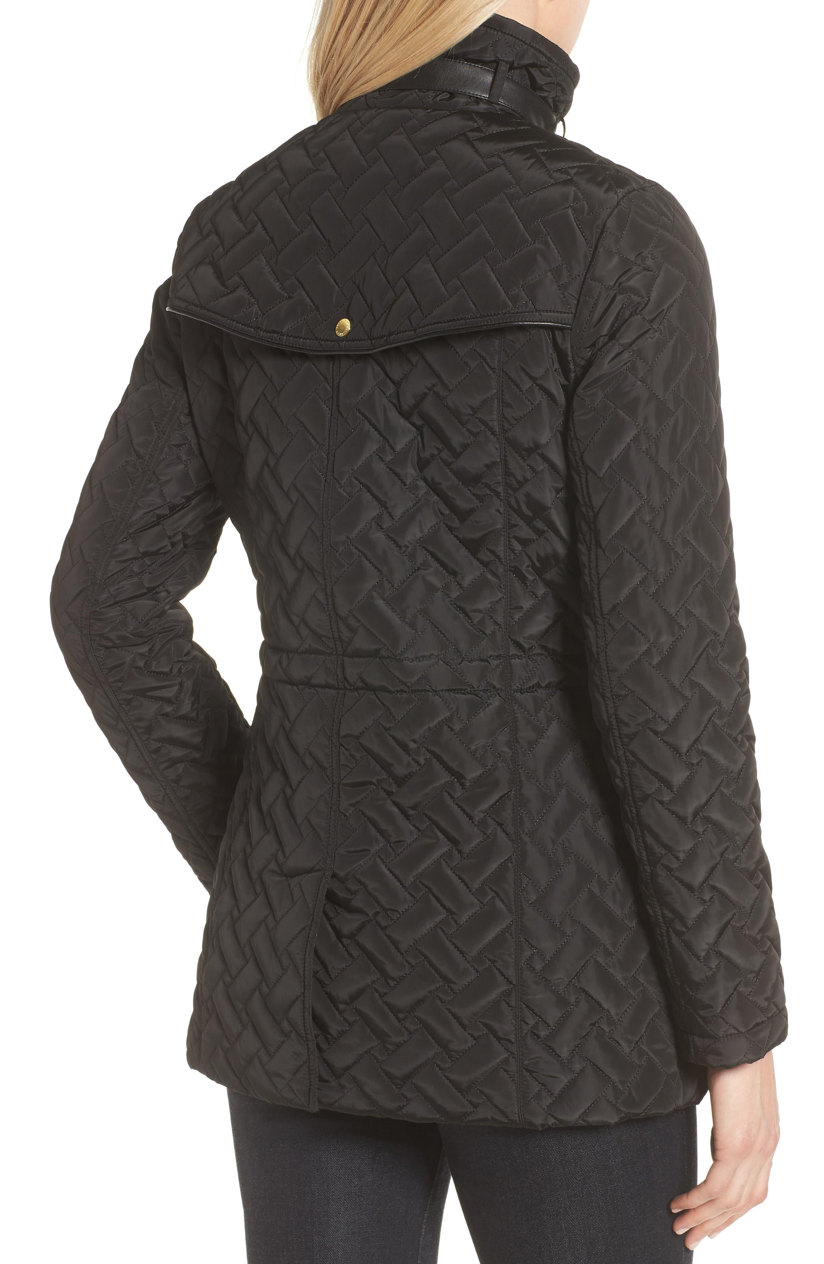Quilted Short Coat,                             Alternate thumbnail 2, color,                             BLACK