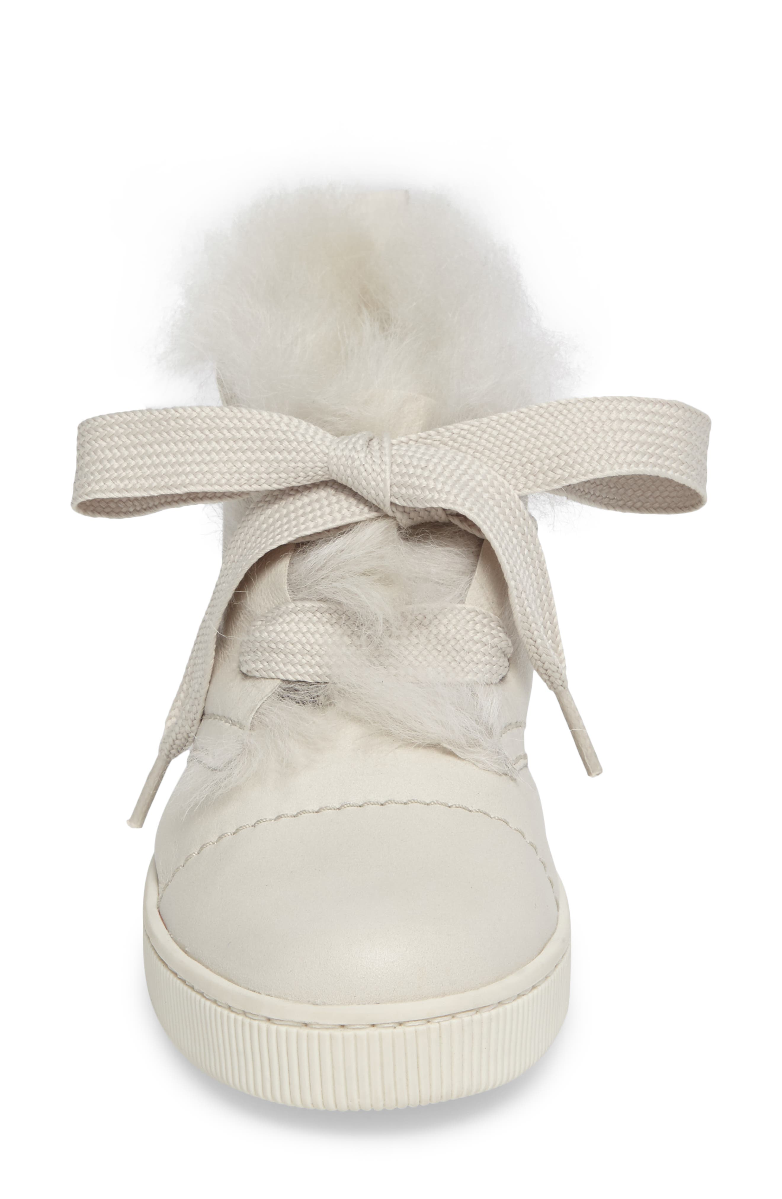 Parley Genuine Shearling & Leather Sneaker,                             Alternate thumbnail 8, color,