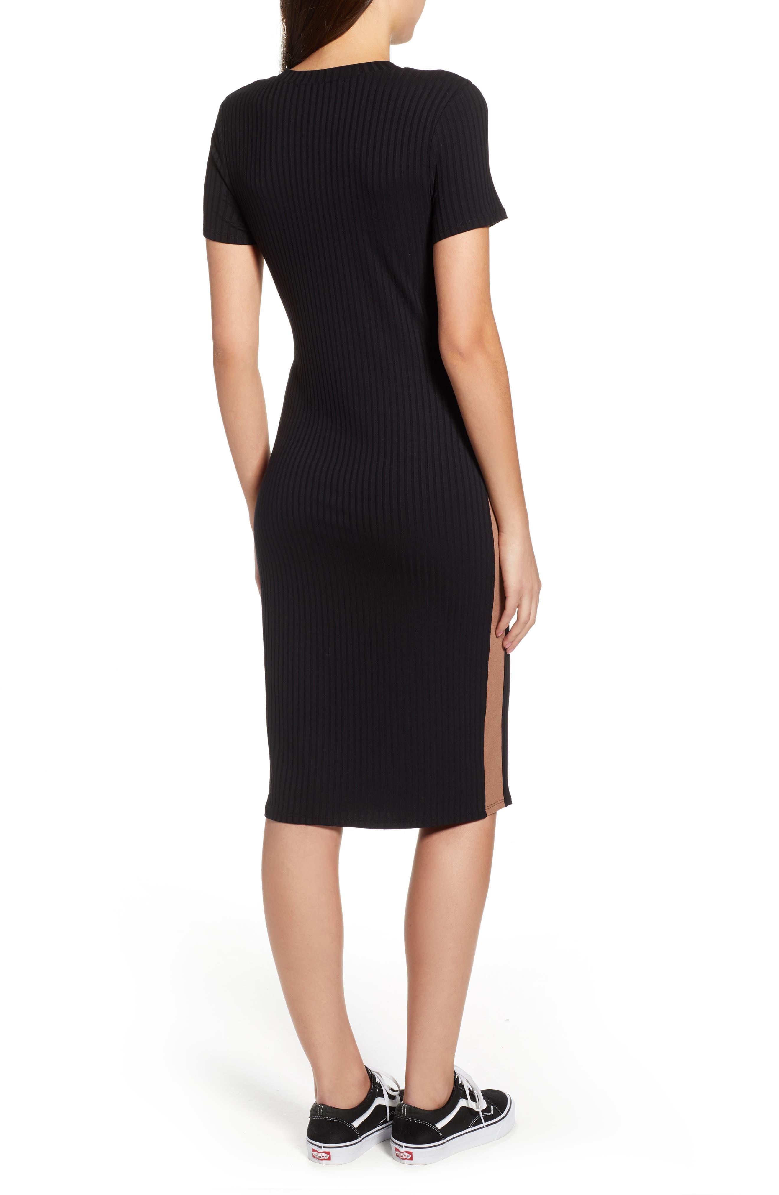 Side Stripe Rib Knit Dress,                             Alternate thumbnail 2, color,                             001