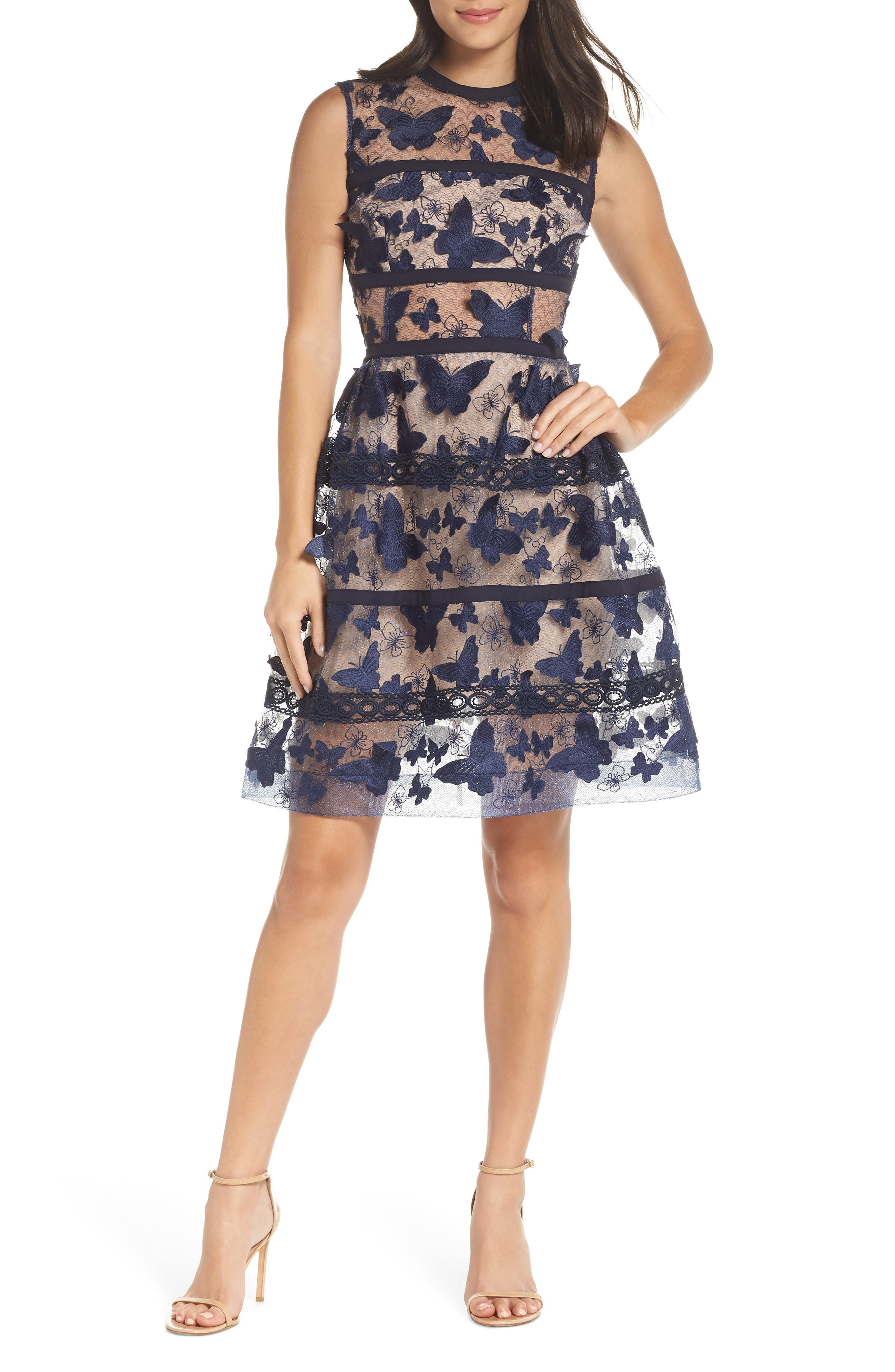 BRONX AND BANCO Valentina Fit & Flare Dress in Navy/ Nude