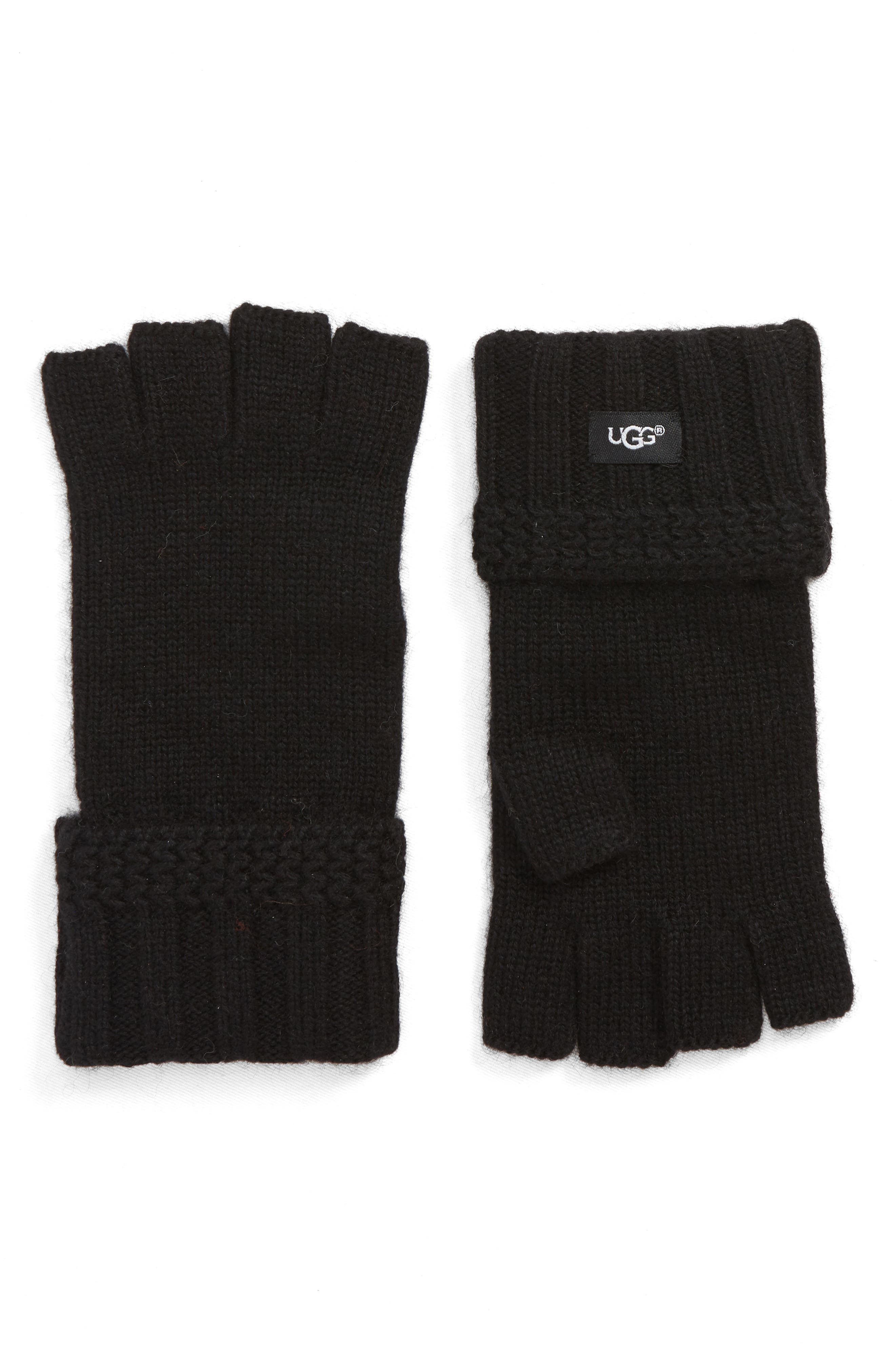 UGG<sup>®</sup> Textured Fingerless Knit Gloves,                             Main thumbnail 1, color,                             001
